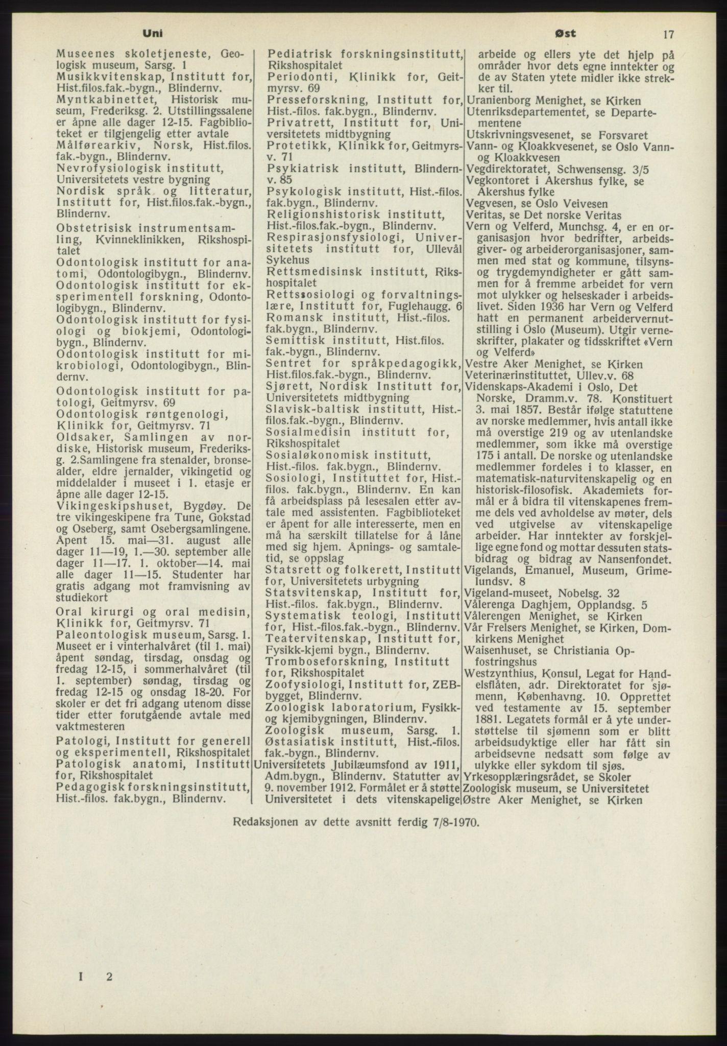 RA, Oslo adressebok (publikasjon)*, 1970-1971, s. 17