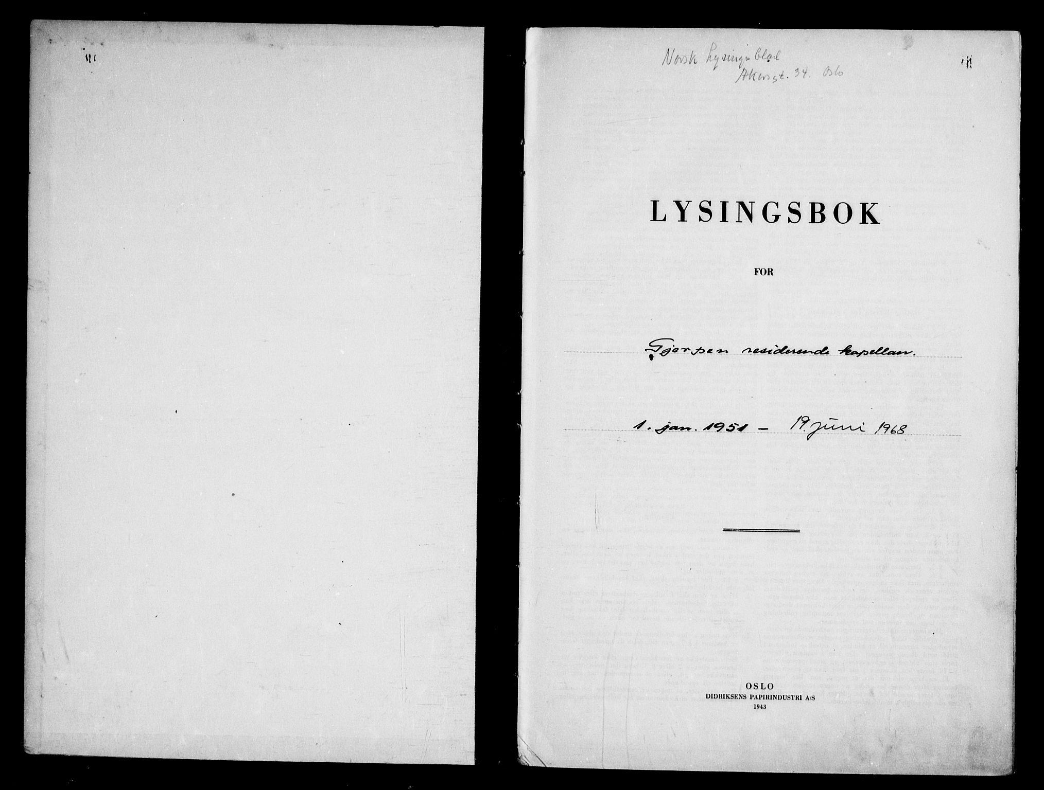 SAKO, Gjerpen kirkebøker, H/Hb/L0002: Lysningsprotokoll nr. II 2, 1951-1968