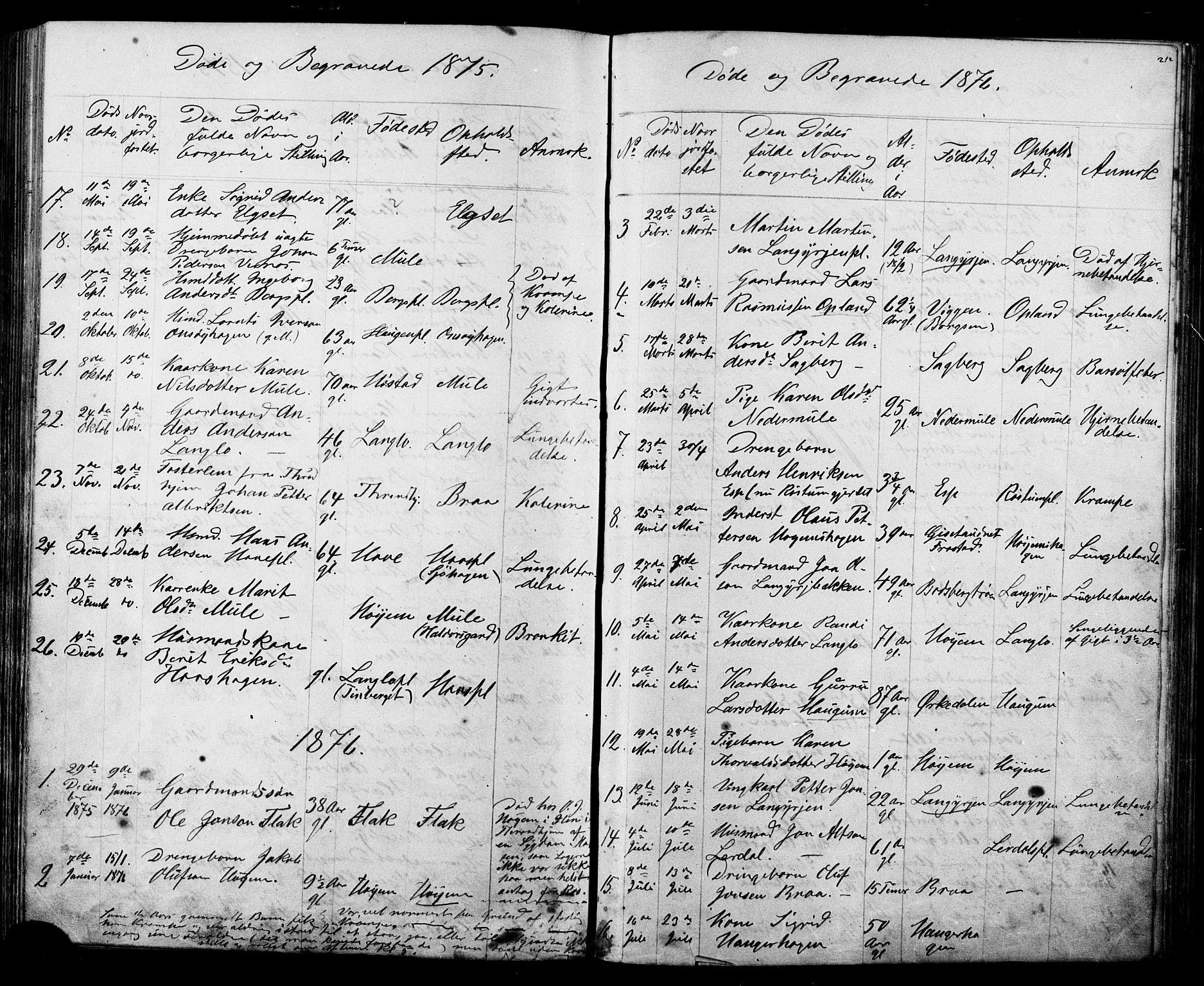 SAT, Ministerialprotokoller, klokkerbøker og fødselsregistre - Sør-Trøndelag, 612/L0387: Klokkerbok nr. 612C03, 1874-1908, s. 212