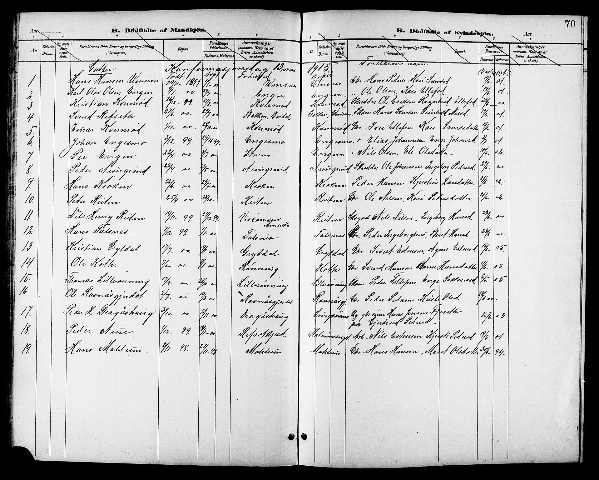 SAT, Ministerialprotokoller, klokkerbøker og fødselsregistre - Sør-Trøndelag, 688/L1029: Klokkerbok nr. 688C04, 1899-1915, s. 70