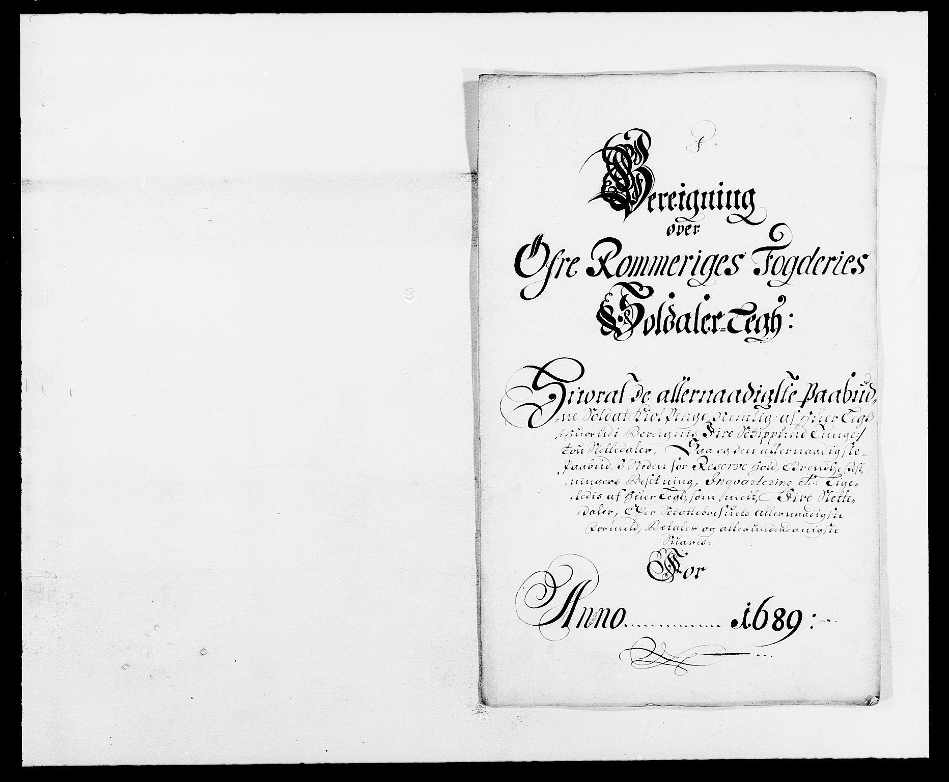 RA, Rentekammeret inntil 1814, Reviderte regnskaper, Fogderegnskap, R12/L0701: Fogderegnskap Øvre Romerike, 1689, s. 179