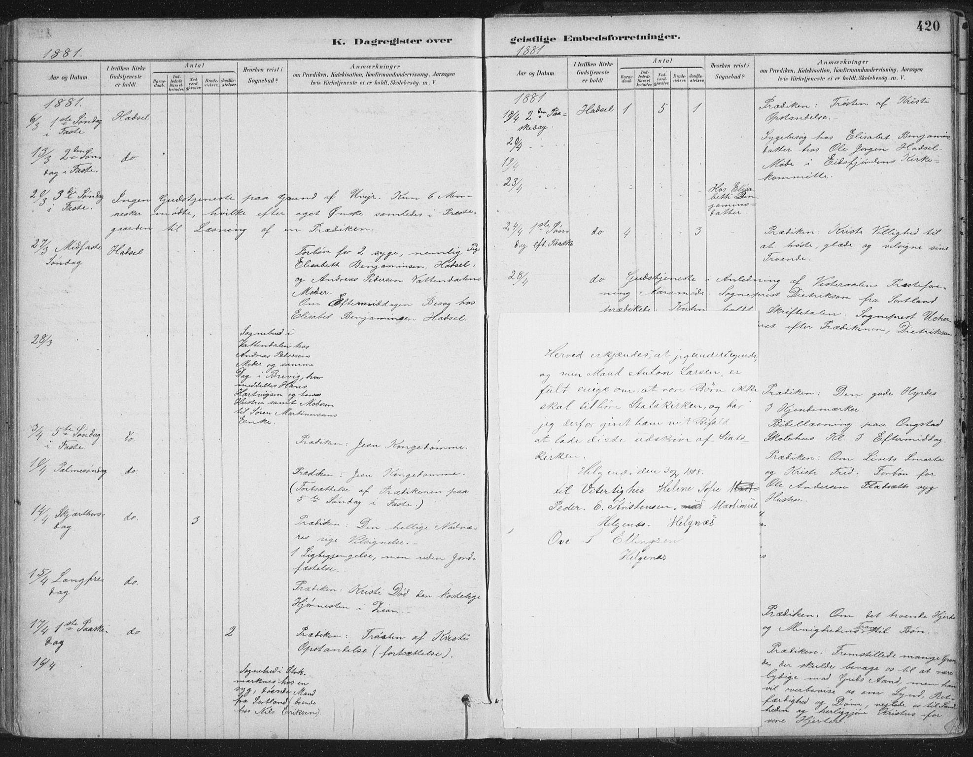 SAT, Ministerialprotokoller, klokkerbøker og fødselsregistre - Nordland, 888/L1244: Ministerialbok nr. 888A10, 1880-1890, s. 420