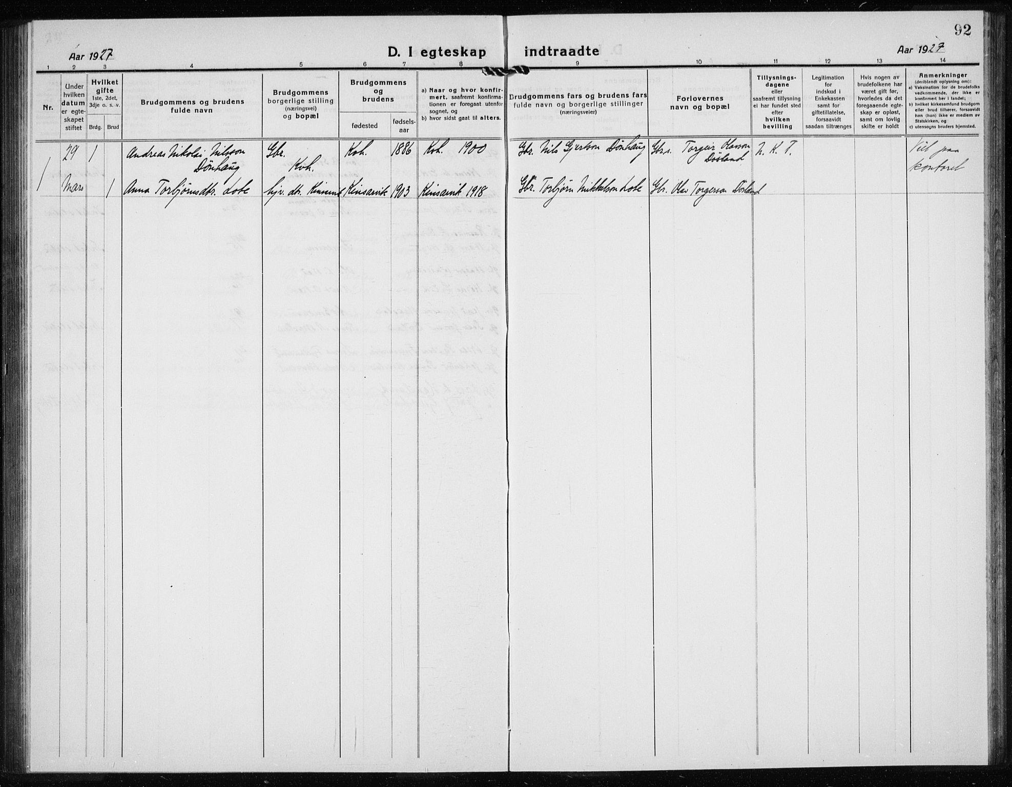 SAB, Kvinnherad Sokneprestembete, H/Haa: Ministerialbok nr. G  1, 1920-1927, s. 92