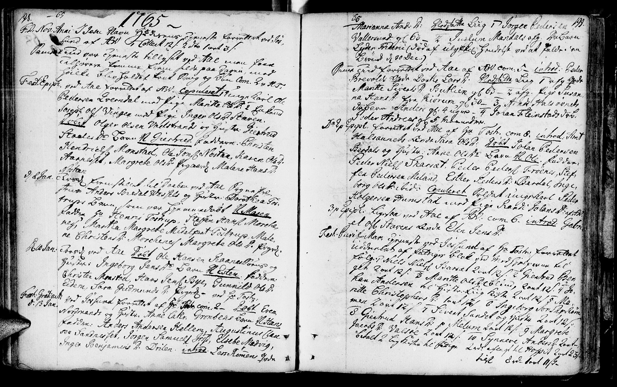 SAT, Ministerialprotokoller, klokkerbøker og fødselsregistre - Sør-Trøndelag, 655/L0672: Ministerialbok nr. 655A01, 1750-1779, s. 198-199