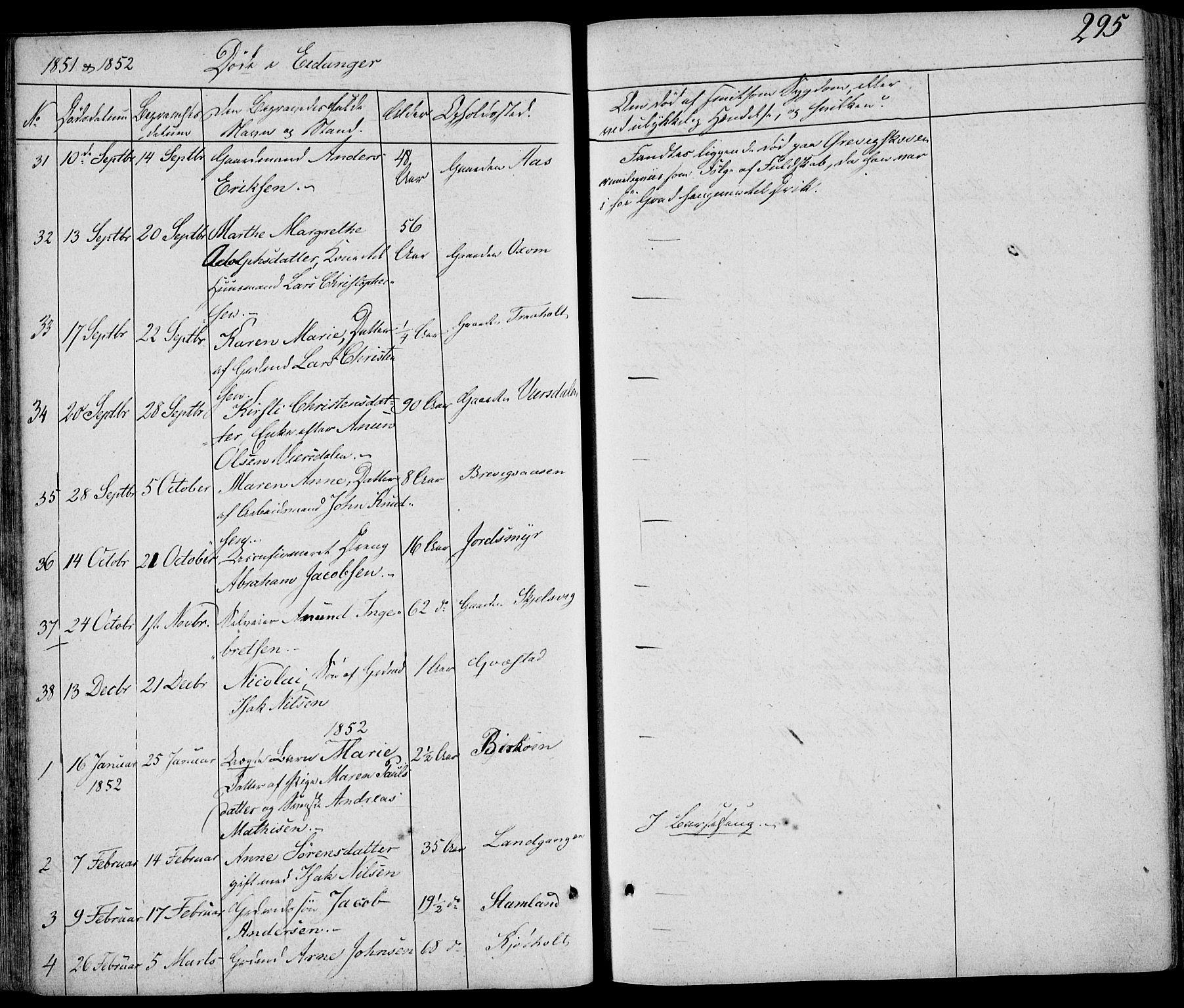 SAKO, Eidanger kirkebøker, F/Fa/L0008: Ministerialbok nr. 8, 1831-1858, s. 295