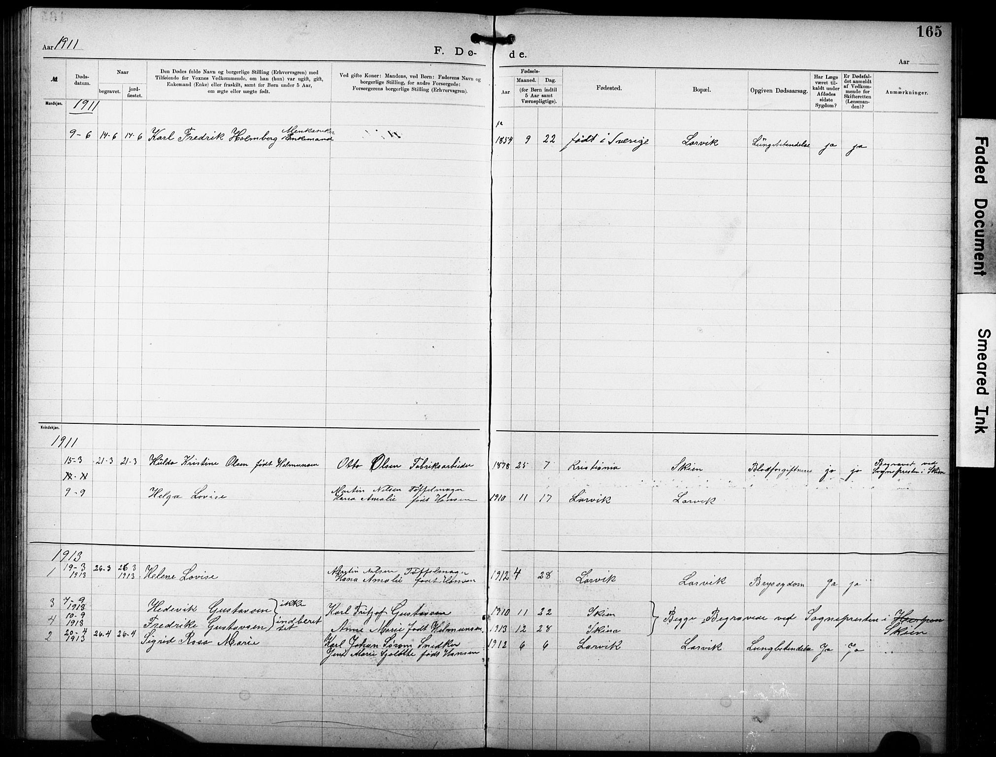 SAKO, Den katolsk-apostoliske menighet i Larvik, F/Fa/L0001: Dissenterprotokoll nr. 1, 1892-1933, s. 165