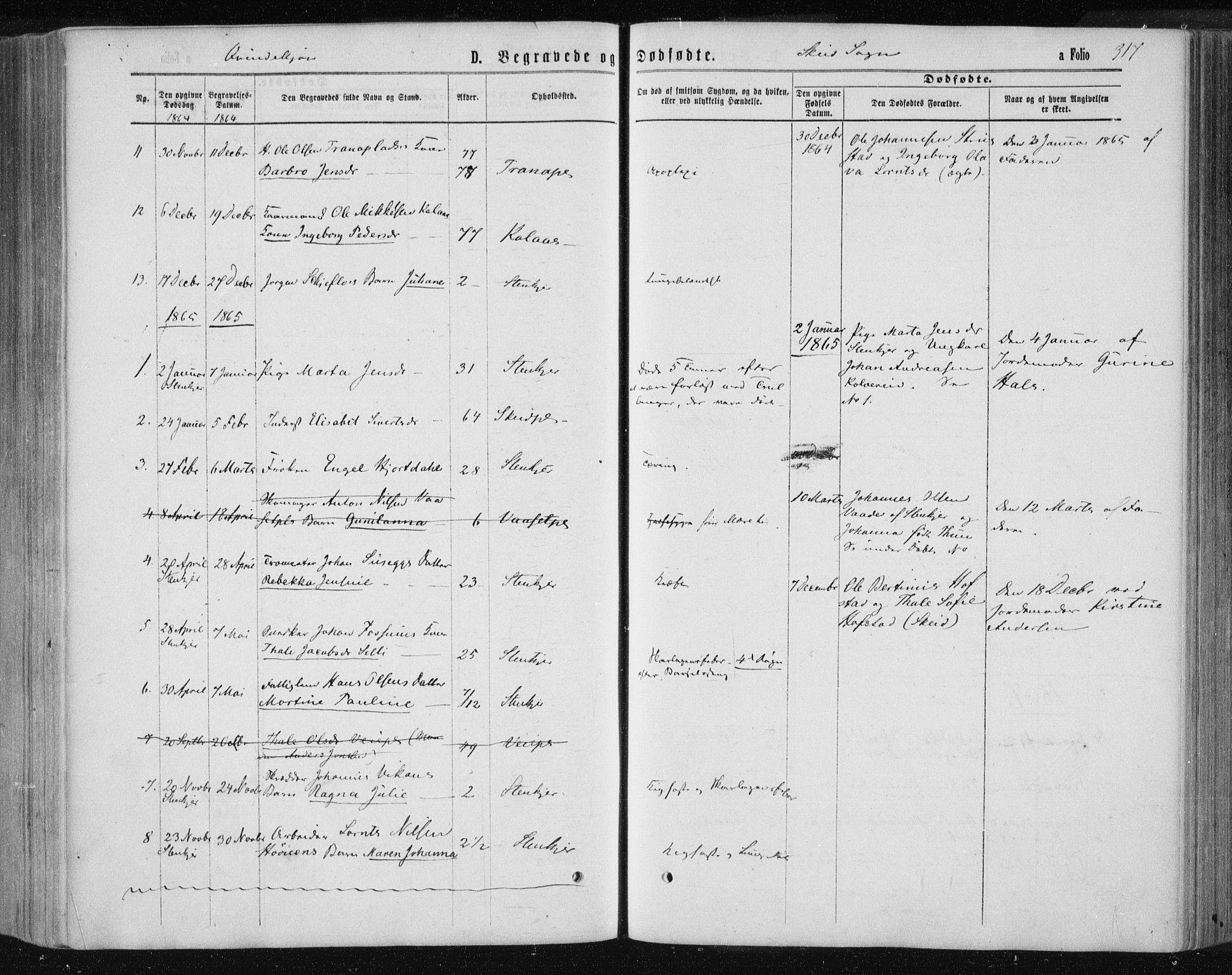 SAT, Ministerialprotokoller, klokkerbøker og fødselsregistre - Nord-Trøndelag, 735/L0345: Ministerialbok nr. 735A08 /2, 1863-1872, s. 317