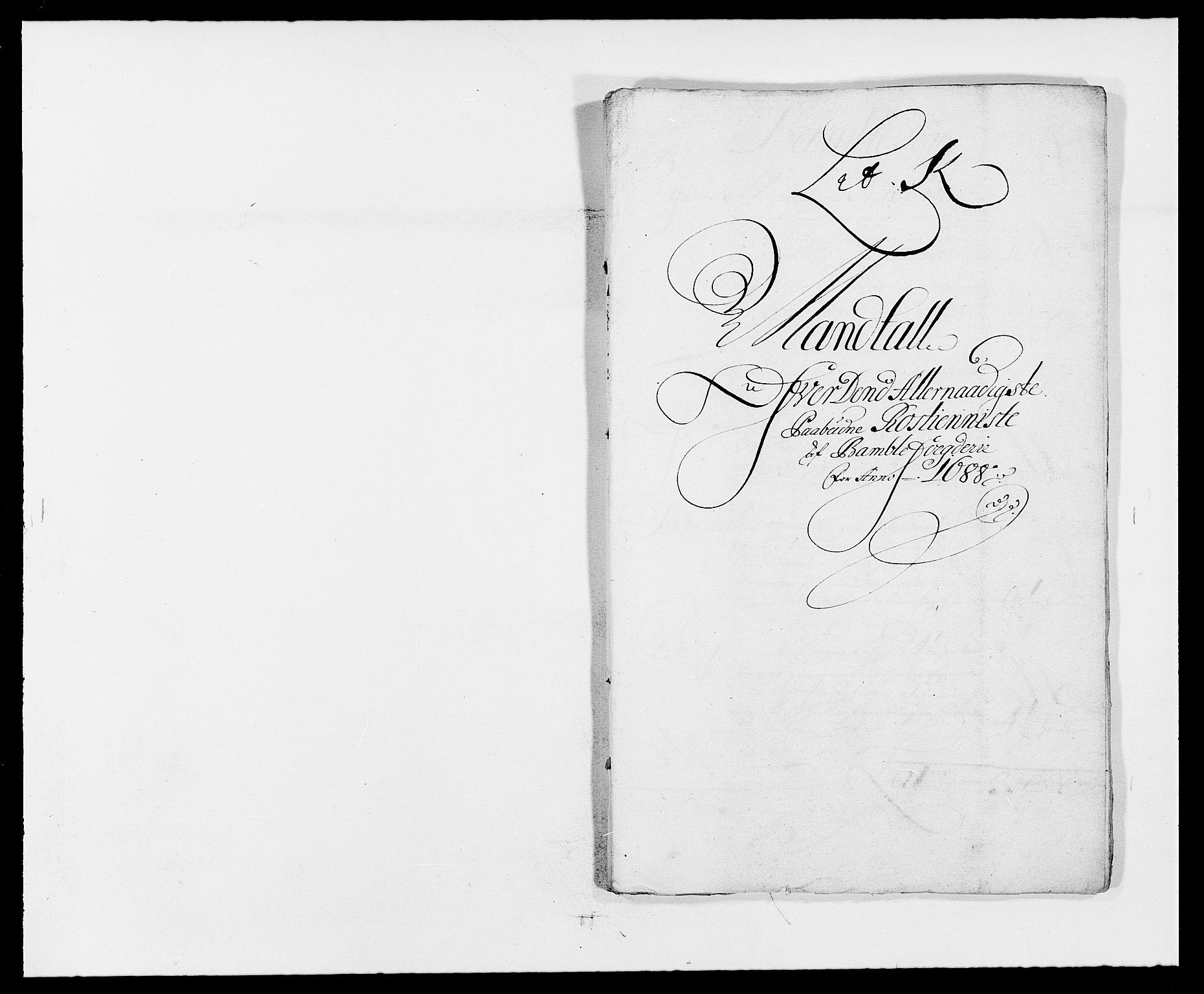 RA, Rentekammeret inntil 1814, Reviderte regnskaper, Fogderegnskap, R34/L2050: Fogderegnskap Bamble, 1688-1691, s. 174