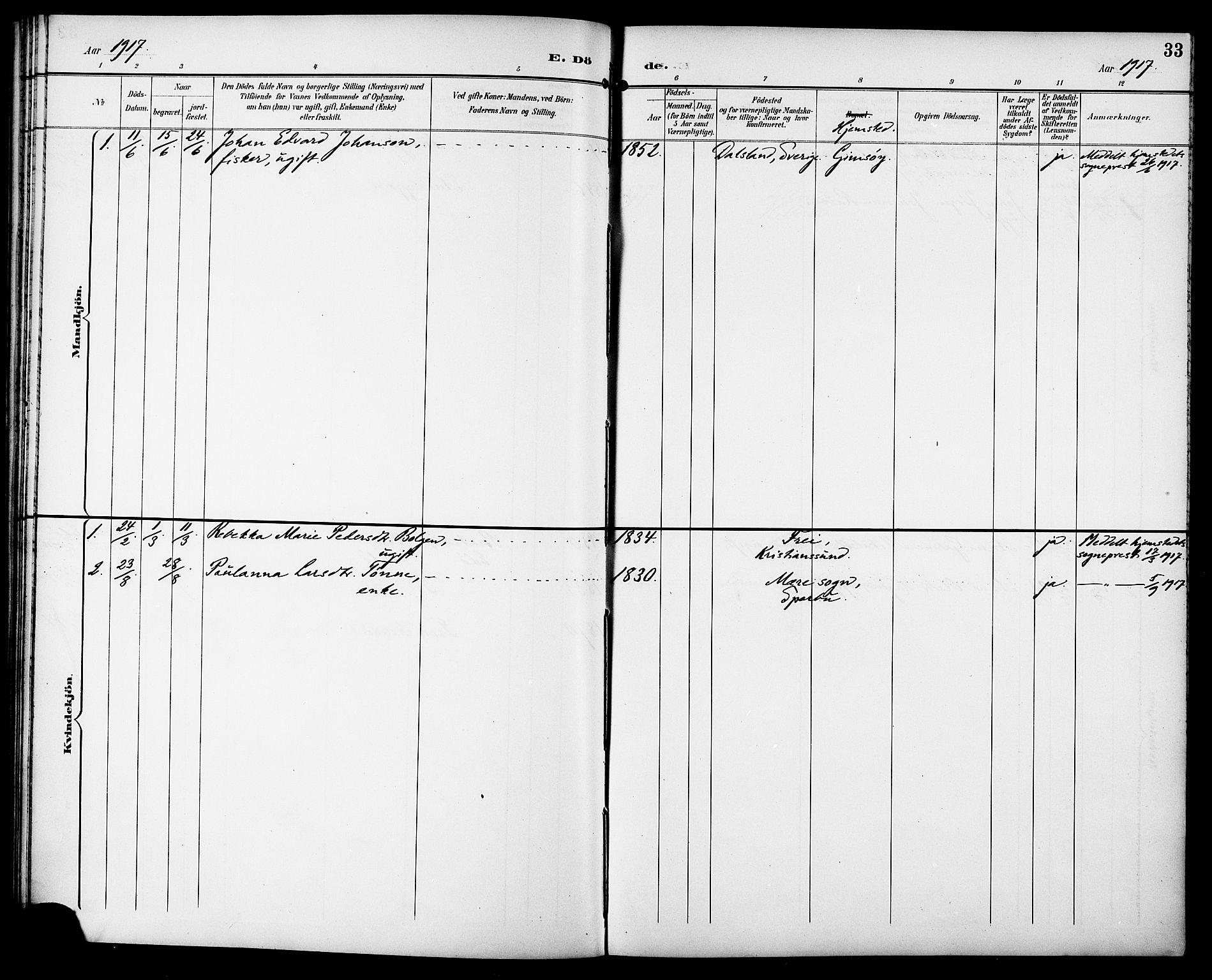 SAT, Ministerialprotokoller, klokkerbøker og fødselsregistre - Sør-Trøndelag, 629/L0486: Ministerialbok nr. 629A02, 1894-1919, s. 33