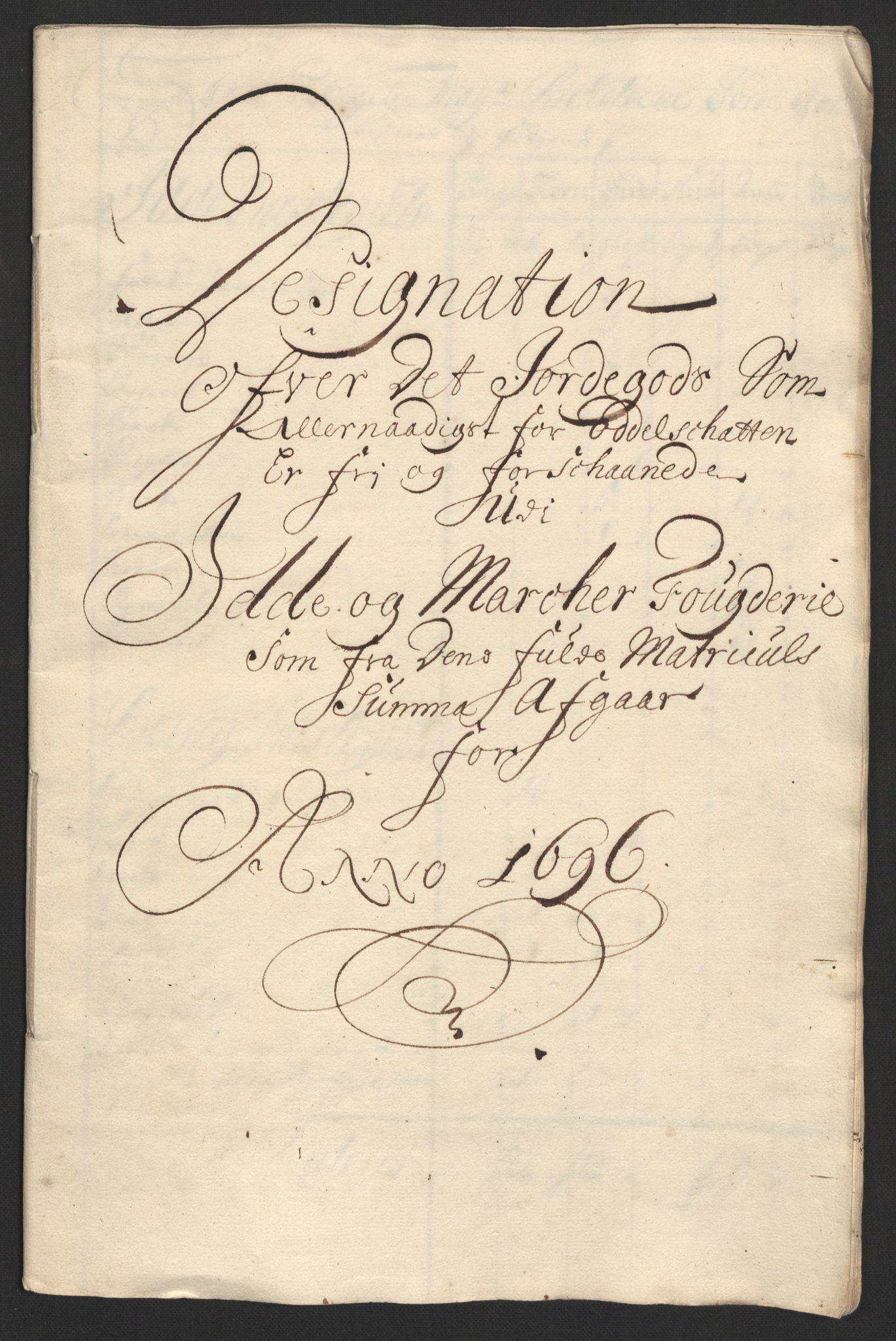 RA, Rentekammeret inntil 1814, Reviderte regnskaper, Fogderegnskap, R01/L0013: Fogderegnskap Idd og Marker, 1696-1698, s. 147