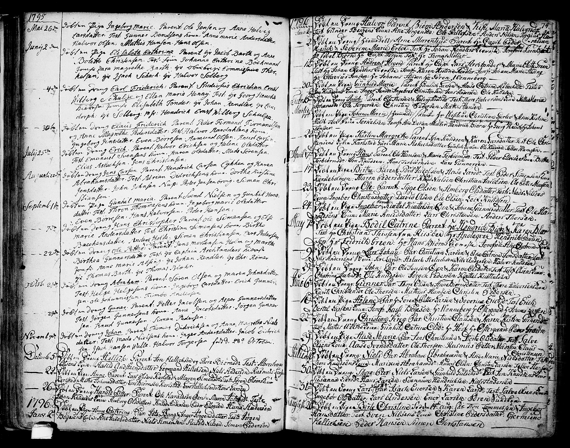 SAKO, Kragerø kirkebøker, F/Fa/L0002: Ministerialbok nr. 2, 1767-1802, s. 74