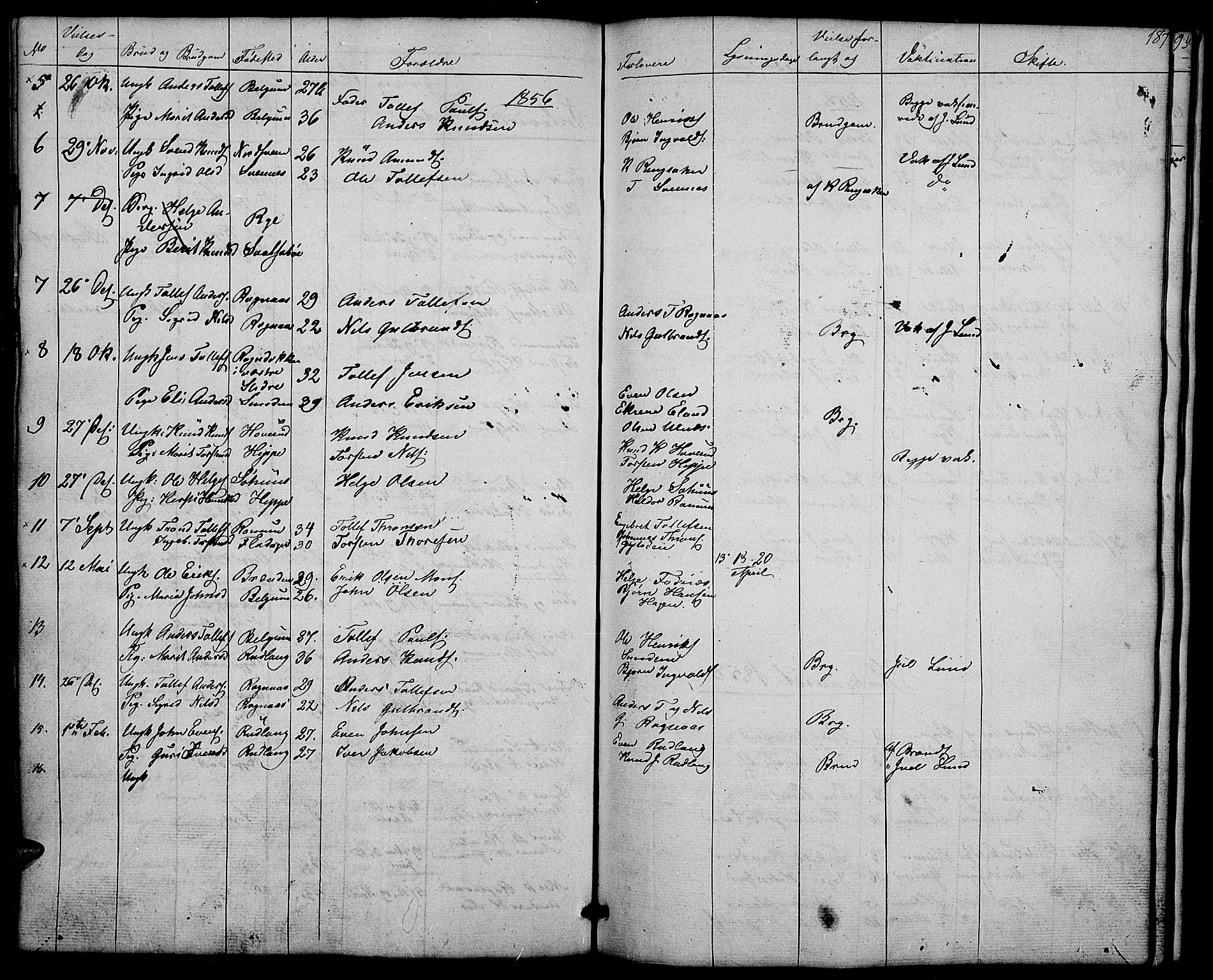 SAH, Nord-Aurdal prestekontor, Klokkerbok nr. 4, 1842-1882, s. 187