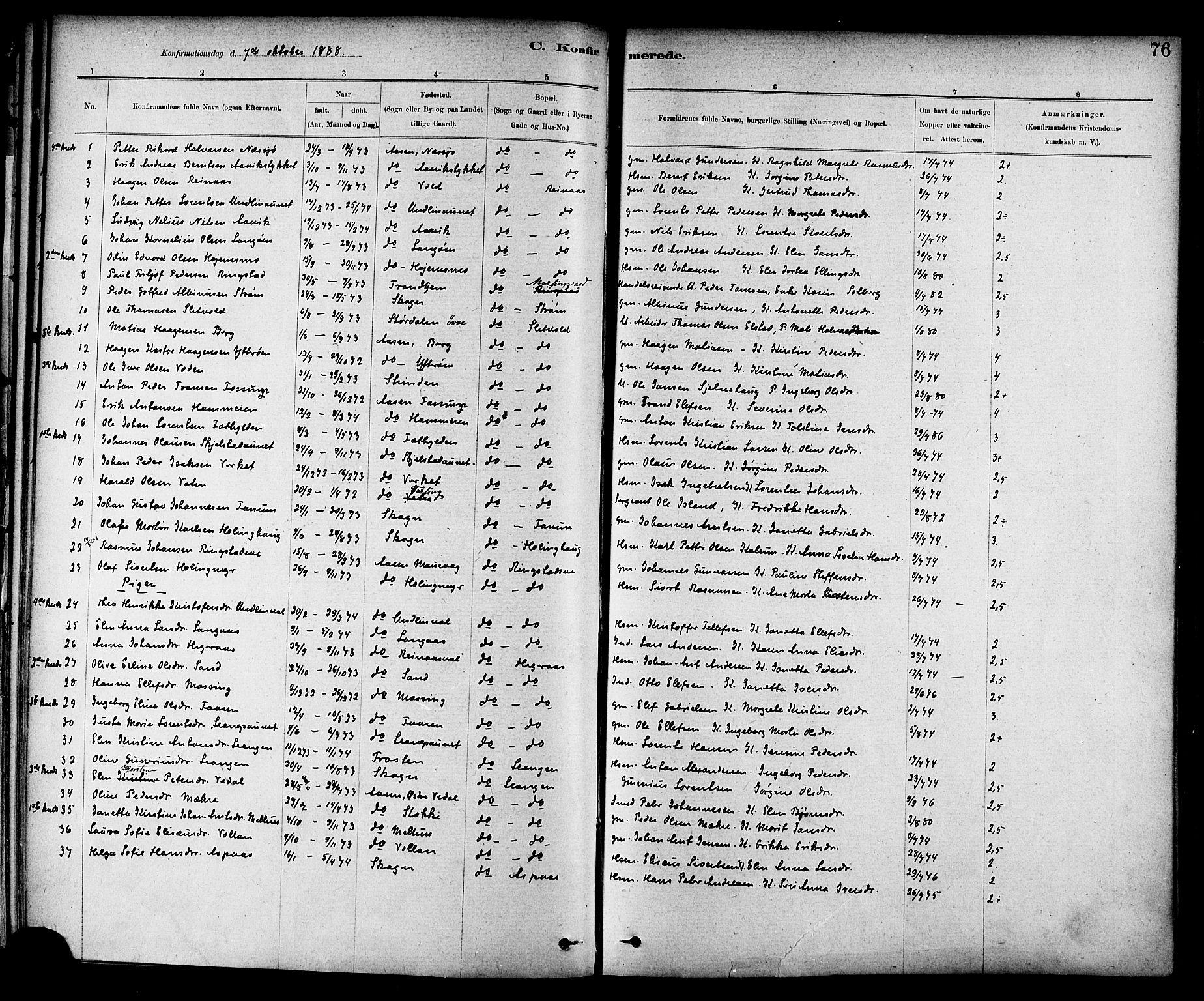 SAT, Ministerialprotokoller, klokkerbøker og fødselsregistre - Nord-Trøndelag, 714/L0130: Ministerialbok nr. 714A01, 1878-1895, s. 76