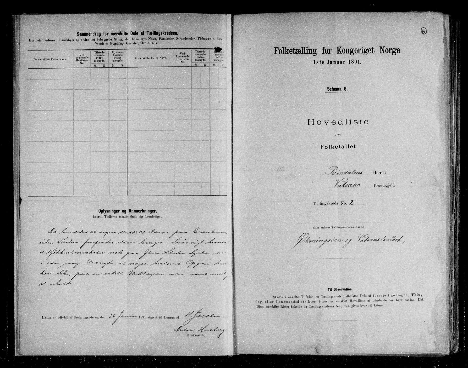 RA, Folketelling 1891 for 1811 Bindal herred, 1891, s. 6