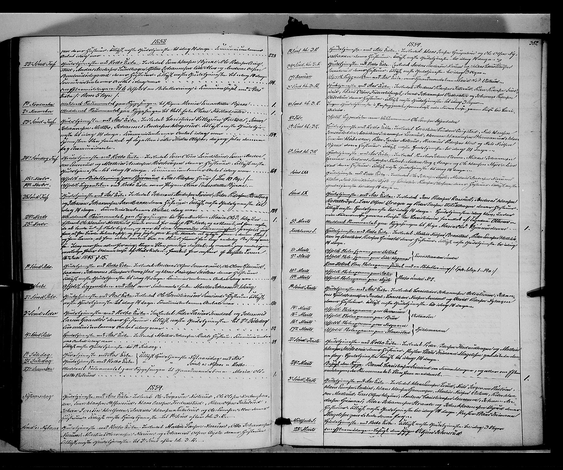 SAH, Vestre Toten prestekontor, H/Ha/Haa/L0006: Ministerialbok nr. 6, 1856-1861, s. 382