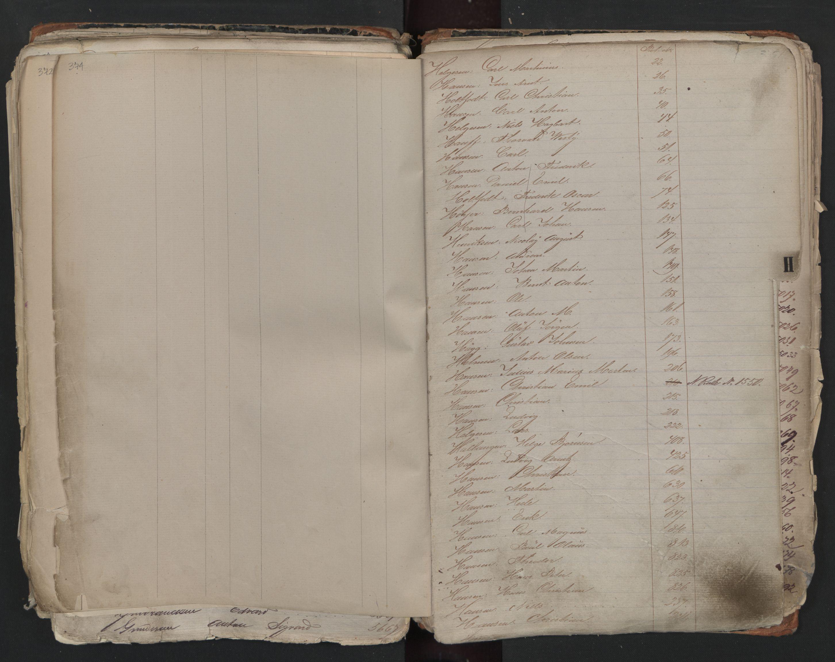SAO, Oslo sjømannskontor, F/Fa/L0001: Register for Kristiania krets, 1866-1891, s. 374-375