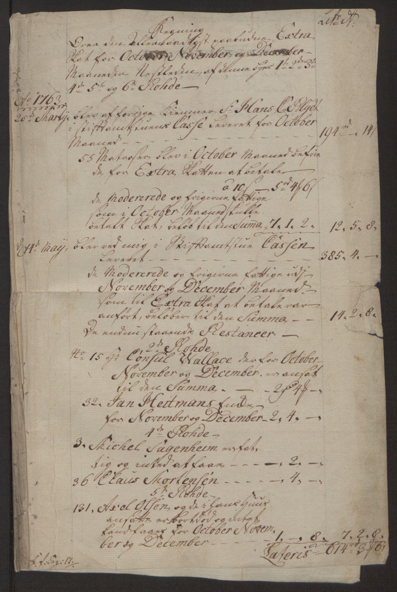 RA, Rentekammeret inntil 1814, Reviderte regnskaper, Byregnskaper, R/Rp/L0365: [P20] Kontribusjonsregnskap, 1762, s. 242