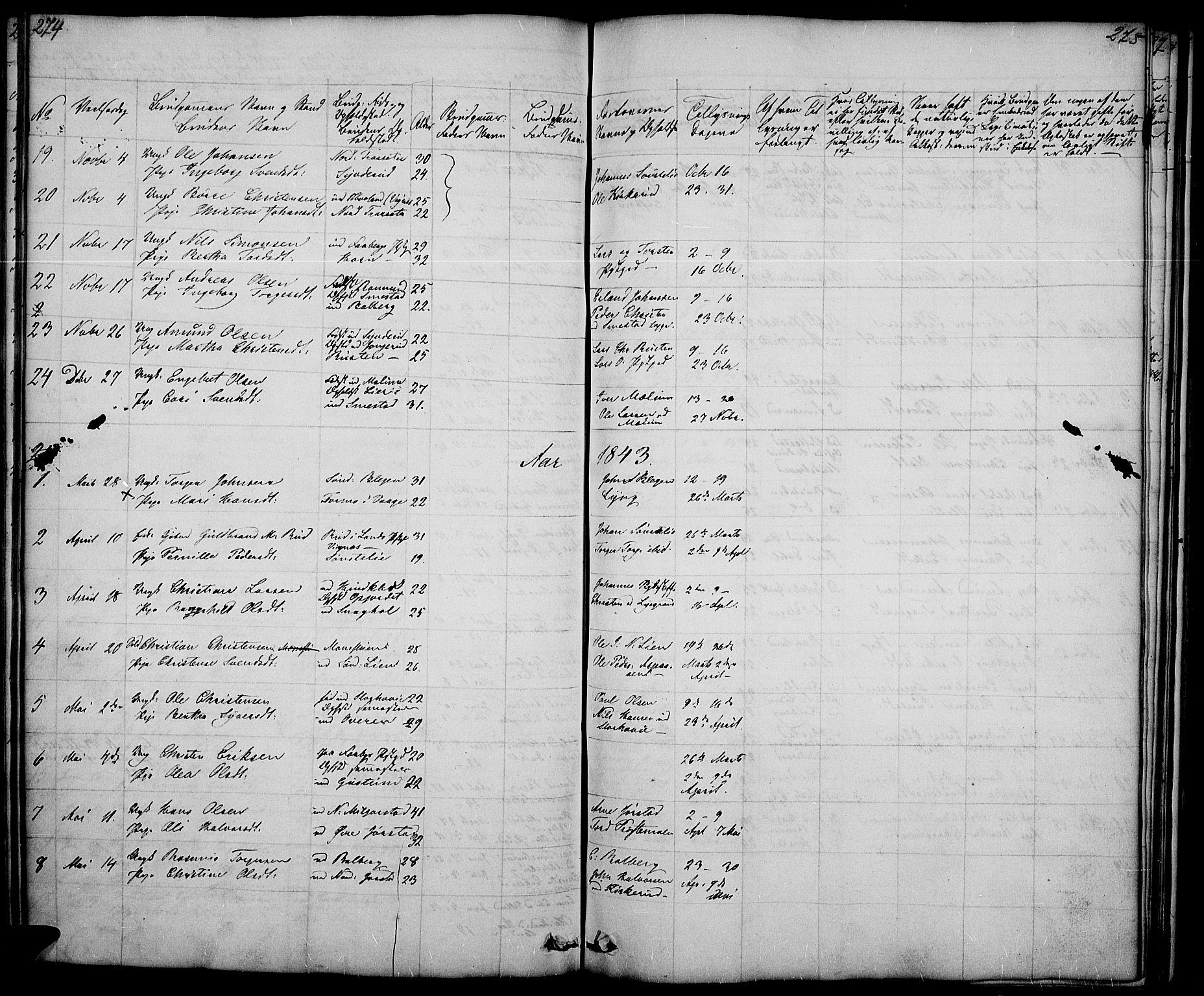 SAH, Fåberg prestekontor, Klokkerbok nr. 5, 1837-1864, s. 274-275
