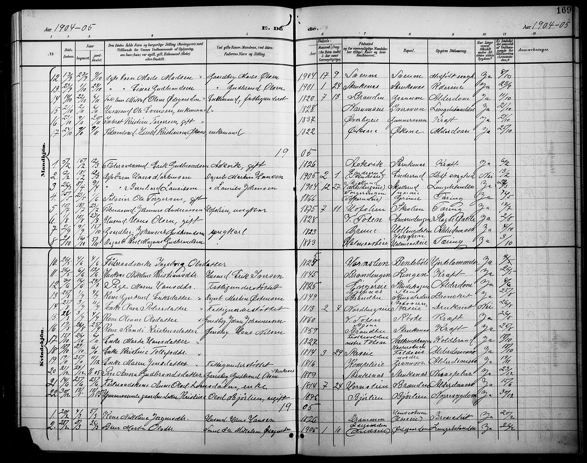 SAH, Søndre Land prestekontor, L/L0004: Klokkerbok nr. 4, 1901-1915, s. 169