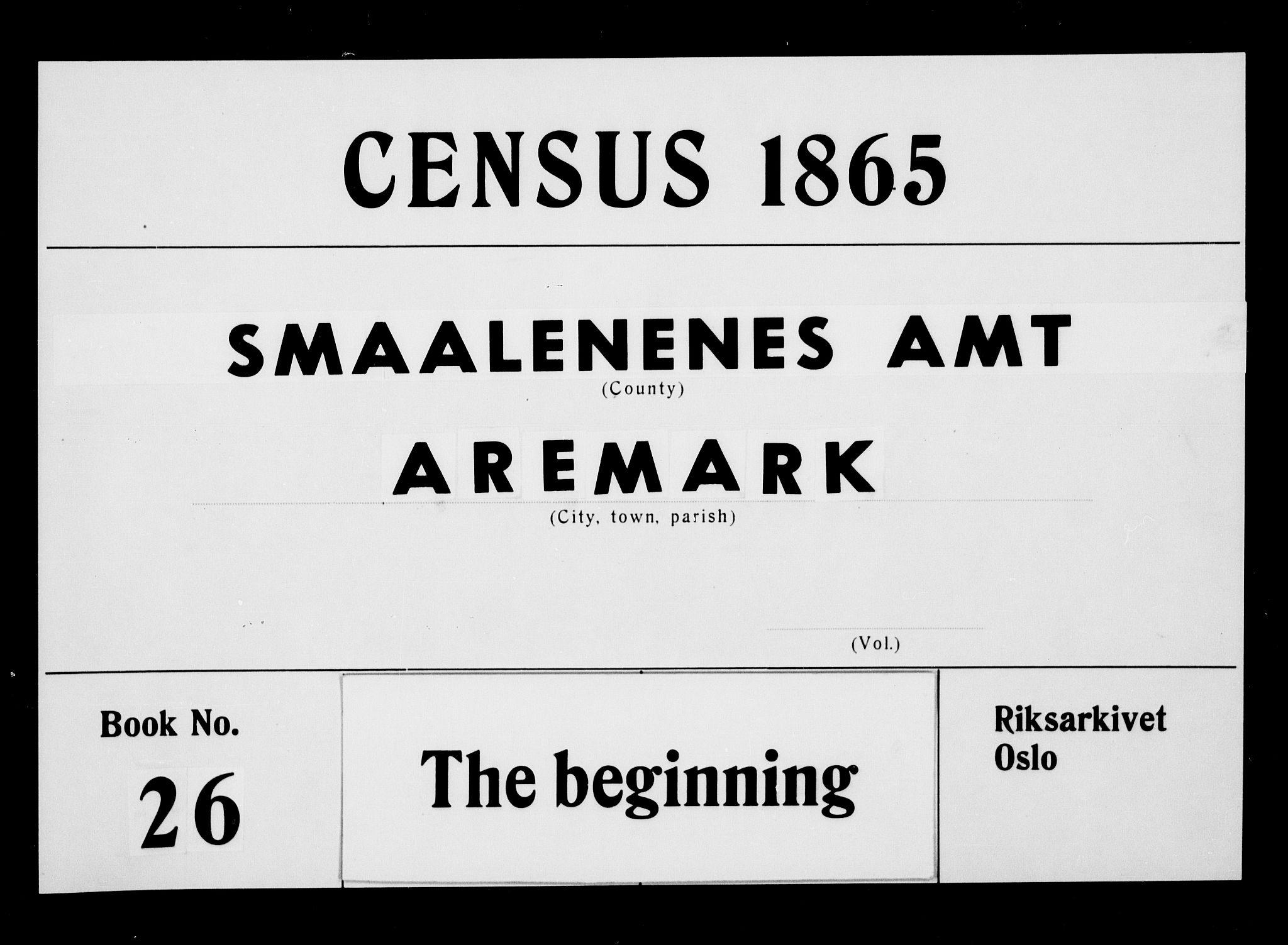 RA, Folketelling 1865 for 0118P Aremark prestegjeld, 1865, s. 1