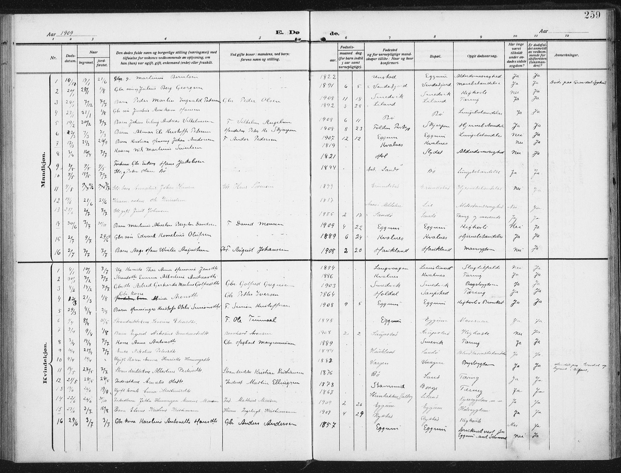 SAT, Ministerialprotokoller, klokkerbøker og fødselsregistre - Nordland, 880/L1135: Ministerialbok nr. 880A09, 1908-1919, s. 259