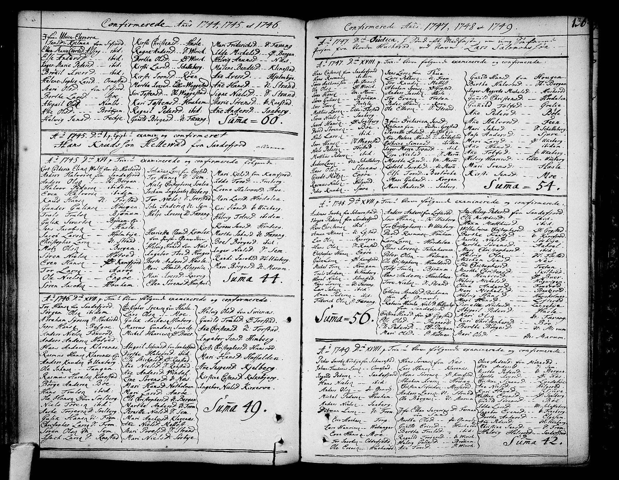 SAKO, Sandar kirkebøker, F/Fa/L0002: Ministerialbok nr. 2, 1733-1788, s. 136
