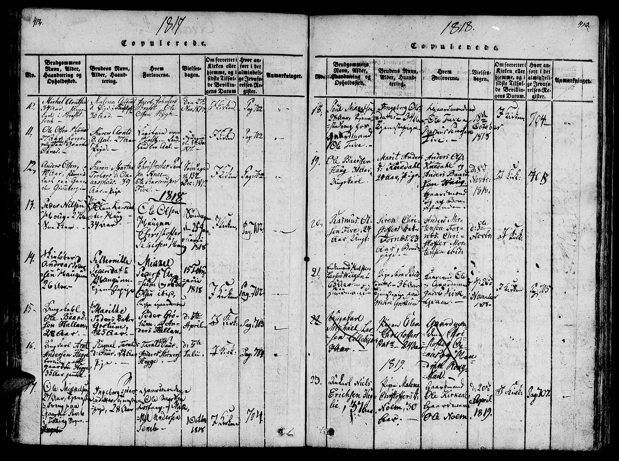 SAT, Ministerialprotokoller, klokkerbøker og fødselsregistre - Nord-Trøndelag, 746/L0441: Ministerialbok nr. 746A03 /2, 1816-1827, s. 412-413