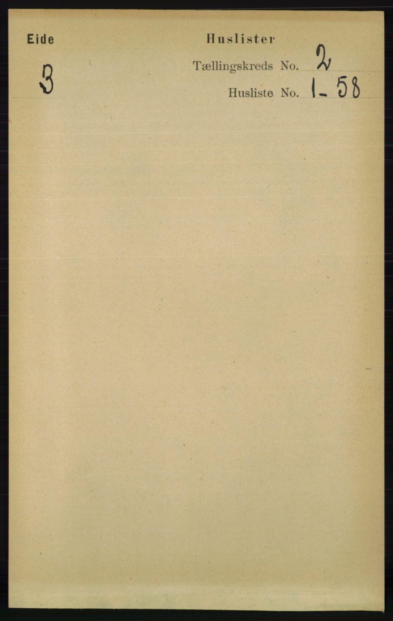 RA, Folketelling 1891 for 0925 Eide herred, 1891, s. 280