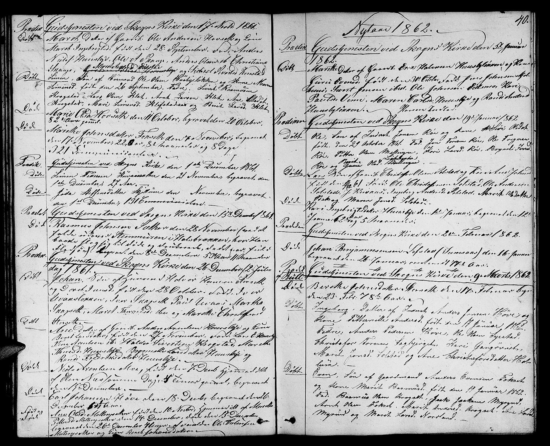 SAT, Ministerialprotokoller, klokkerbøker og fødselsregistre - Sør-Trøndelag, 667/L0797: Klokkerbok nr. 667C02, 1849-1867, s. 40