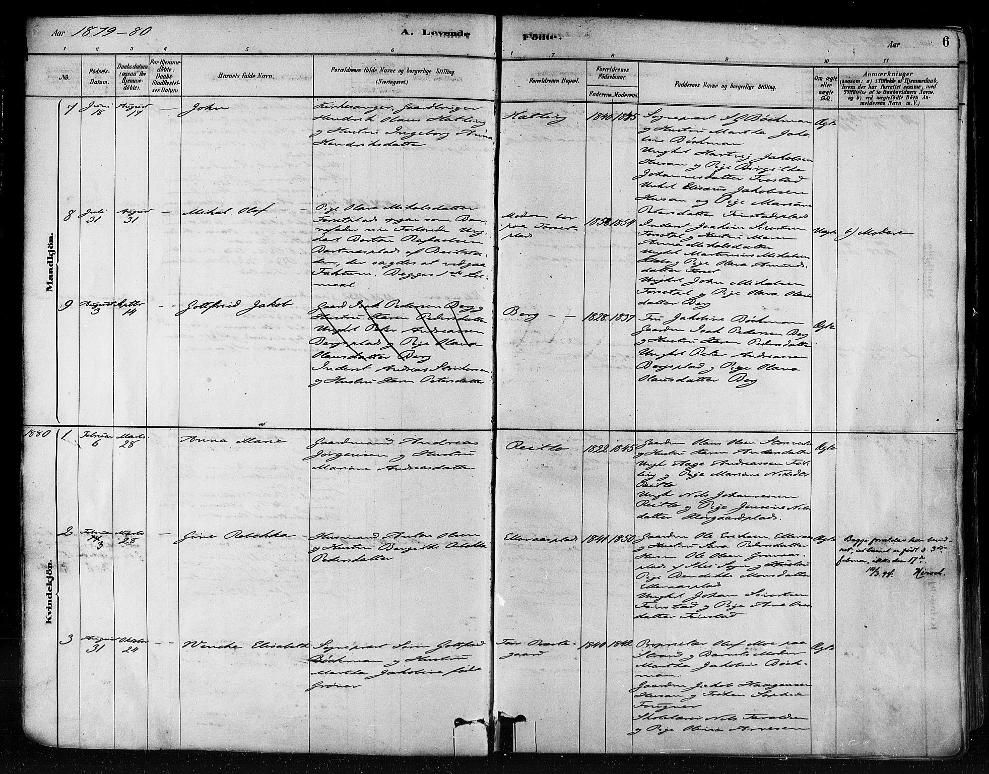 SAT, Ministerialprotokoller, klokkerbøker og fødselsregistre - Nord-Trøndelag, 746/L0448: Ministerialbok nr. 746A07 /1, 1878-1900, s. 6