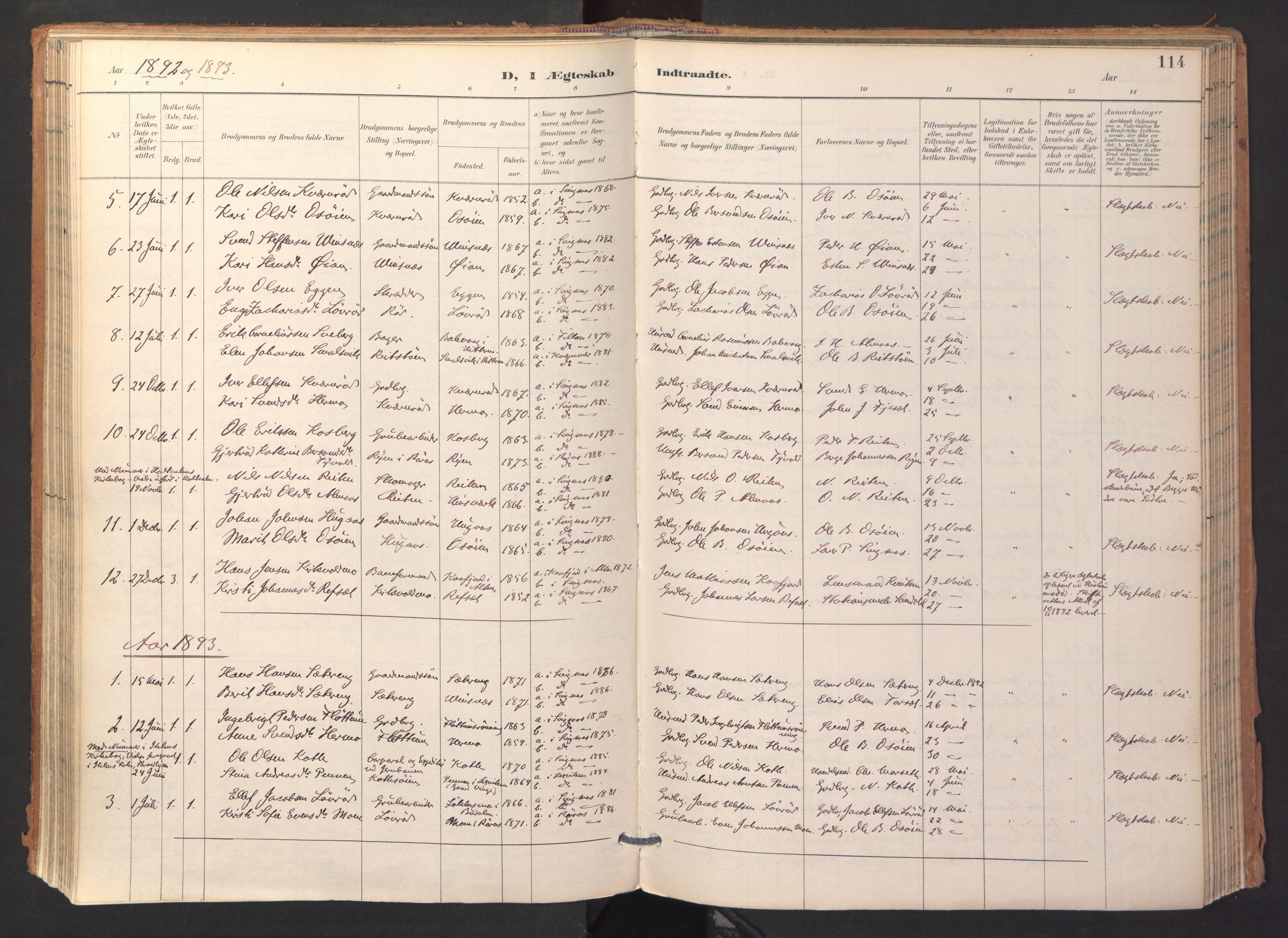 SAT, Ministerialprotokoller, klokkerbøker og fødselsregistre - Sør-Trøndelag, 688/L1025: Ministerialbok nr. 688A02, 1891-1909, s. 114