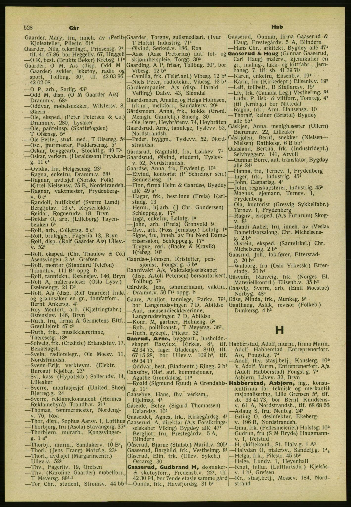 PUBL, Kristiania/Oslo adressebok, 1954, s. 528