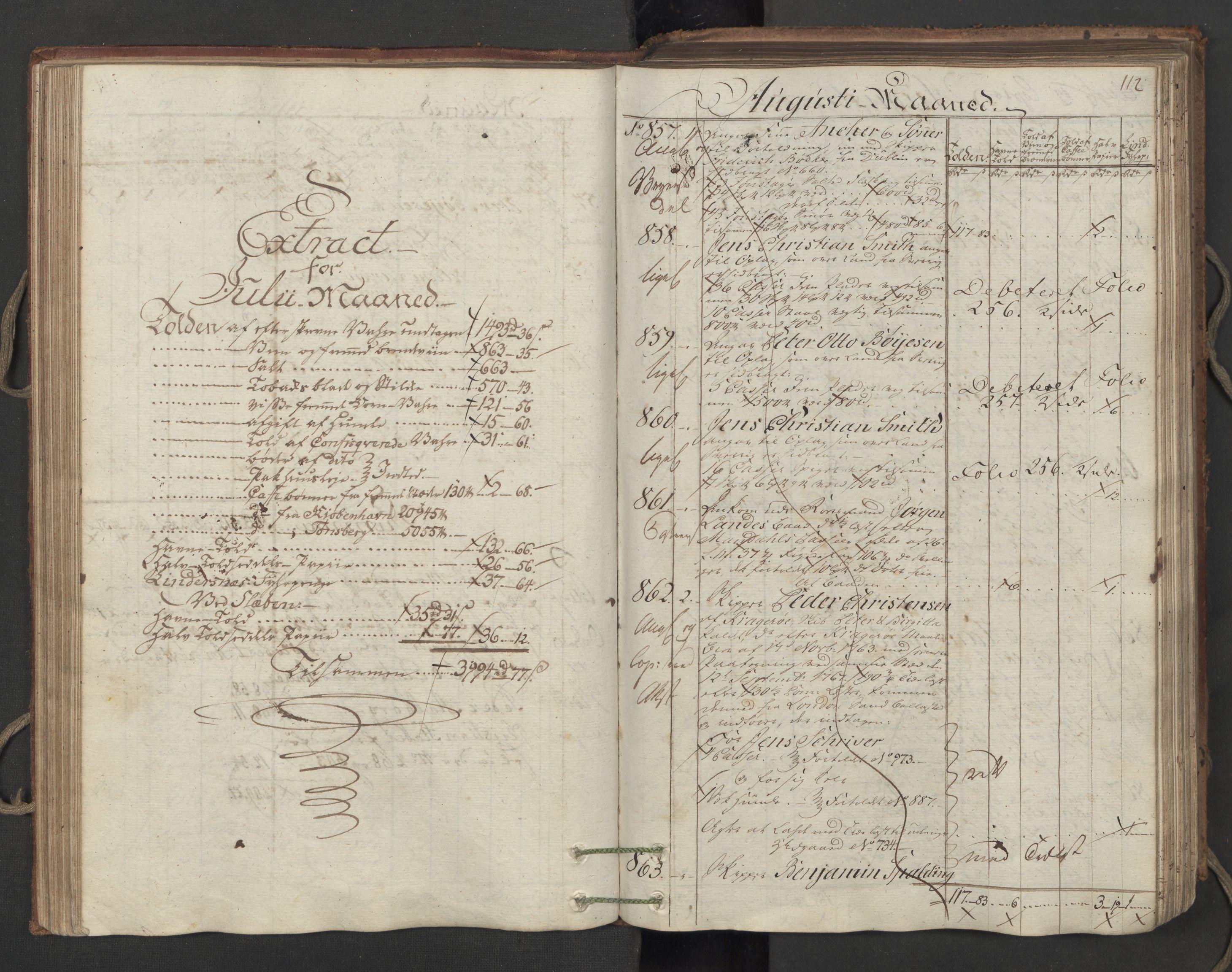 RA, Generaltollkammeret, tollregnskaper, R06/L0173: Tollregnskaper Kristiania, 1788, s. 111b-112a