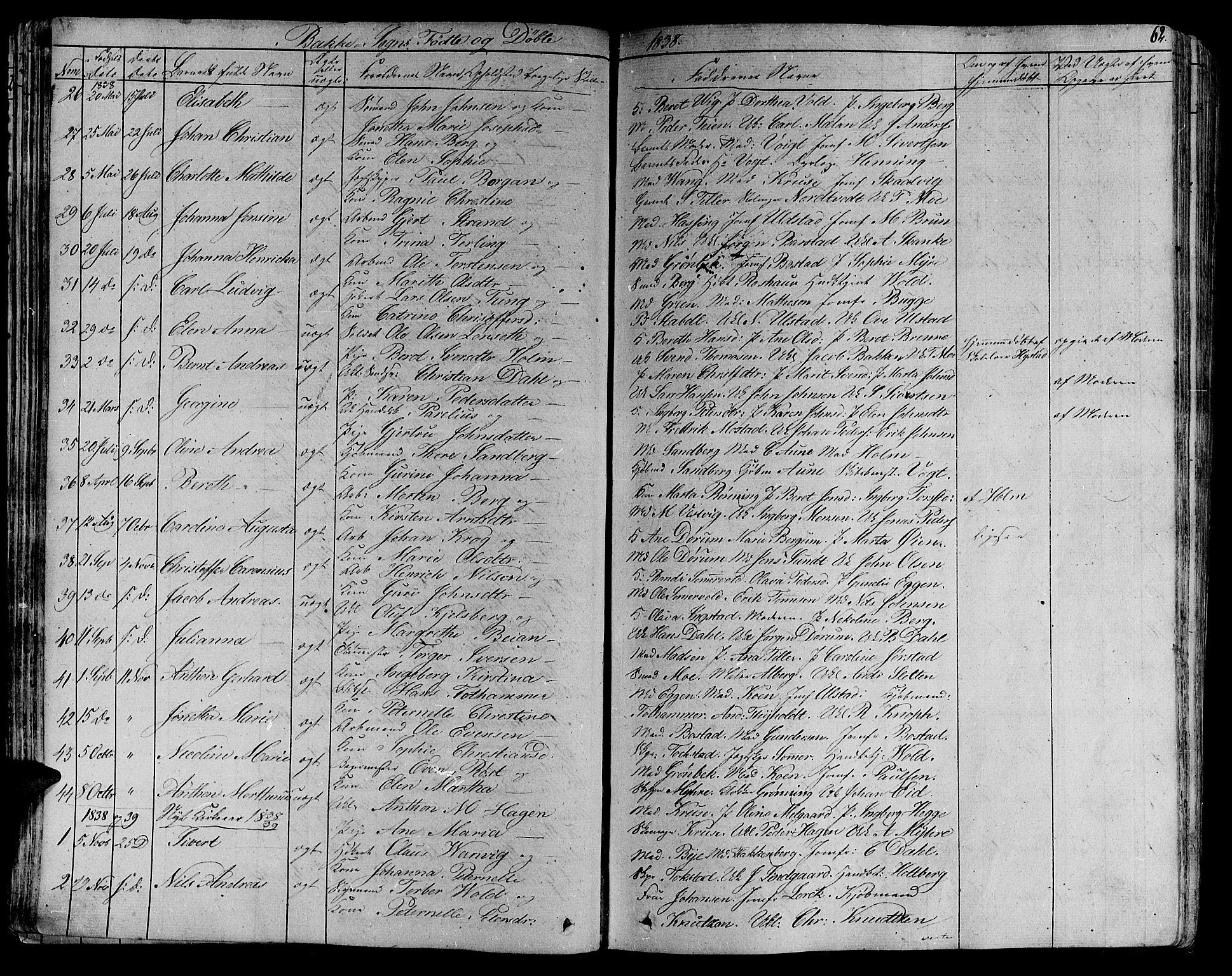 SAT, Ministerialprotokoller, klokkerbøker og fødselsregistre - Sør-Trøndelag, 606/L0287: Ministerialbok nr. 606A04 /2, 1826-1840, s. 62