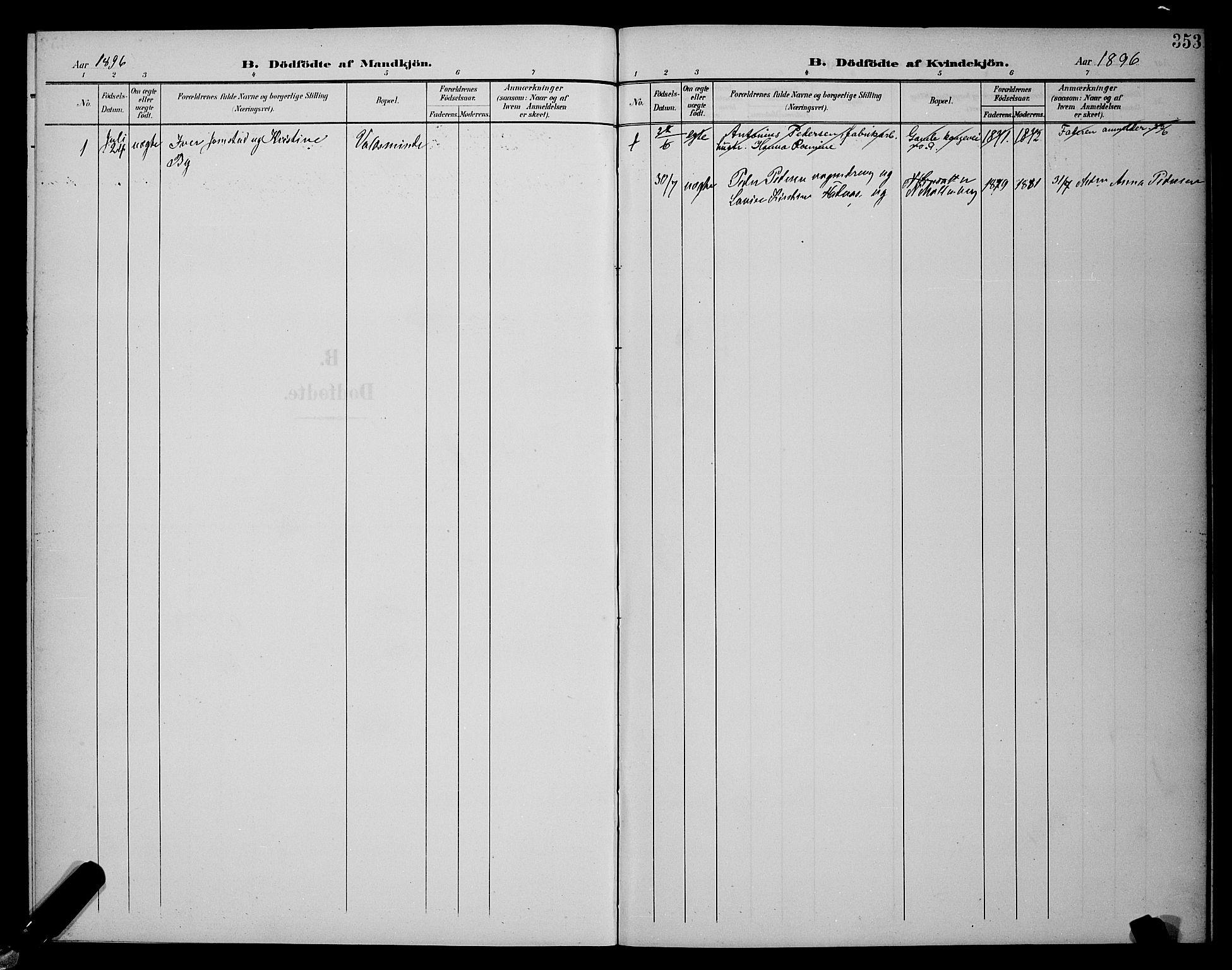 SAT, Ministerialprotokoller, klokkerbøker og fødselsregistre - Sør-Trøndelag, 604/L0225: Klokkerbok nr. 604C08, 1895-1899, s. 353