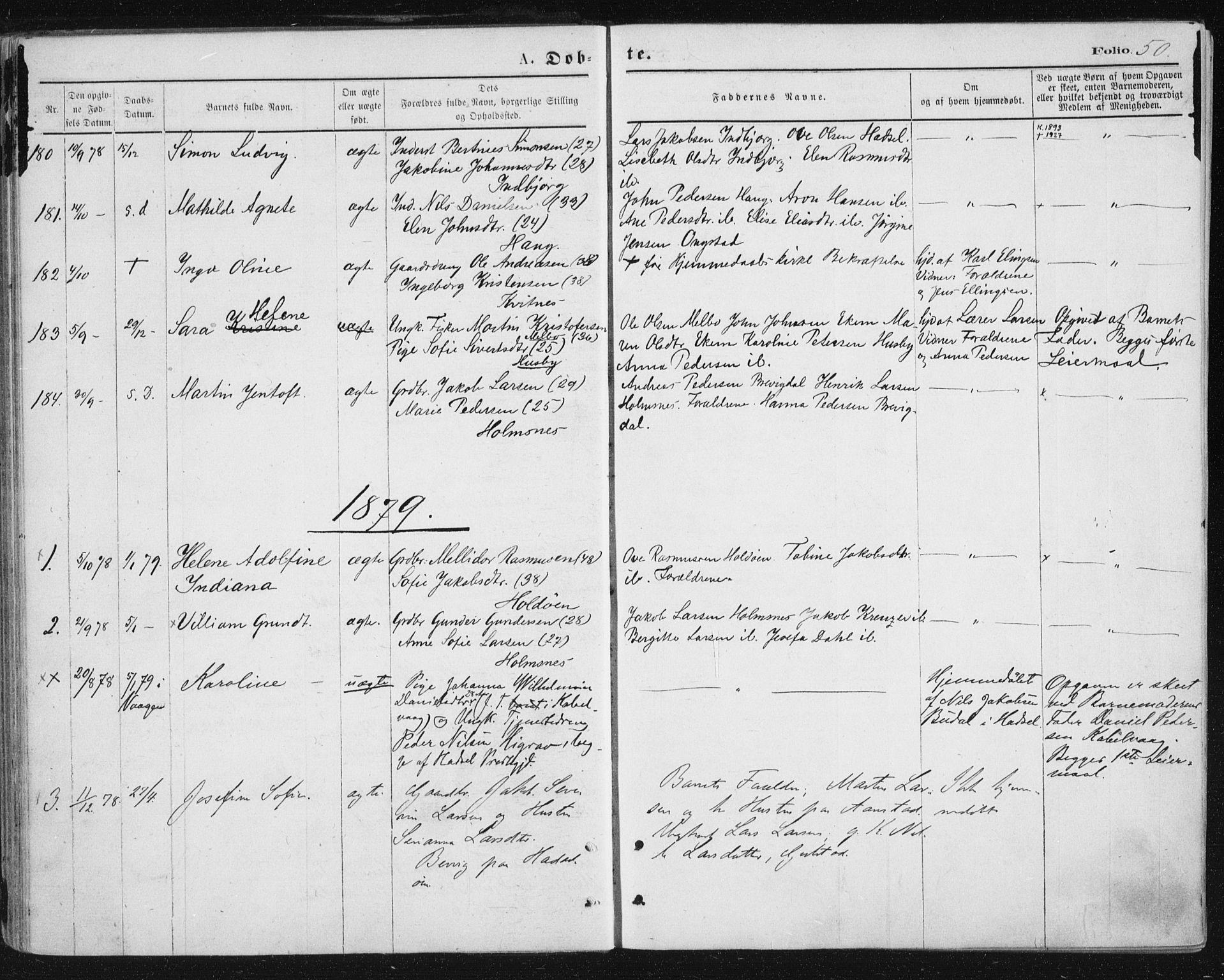 SAT, Ministerialprotokoller, klokkerbøker og fødselsregistre - Nordland, 888/L1243: Ministerialbok nr. 888A09, 1876-1879, s. 50
