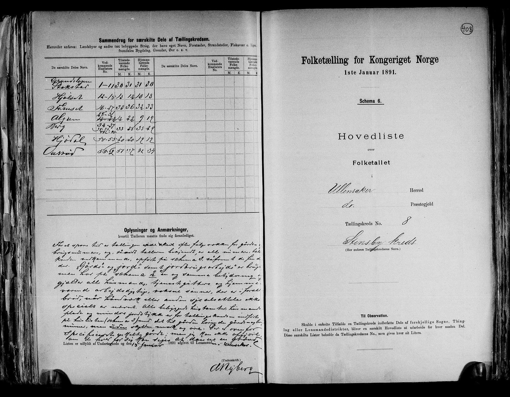 RA, Folketelling 1891 for 0235 Ullensaker herred, 1891, s. 19
