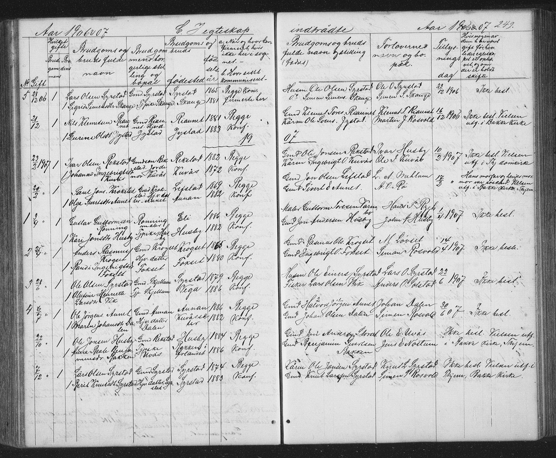 SAT, Ministerialprotokoller, klokkerbøker og fødselsregistre - Sør-Trøndelag, 667/L0798: Klokkerbok nr. 667C03, 1867-1929, s. 249