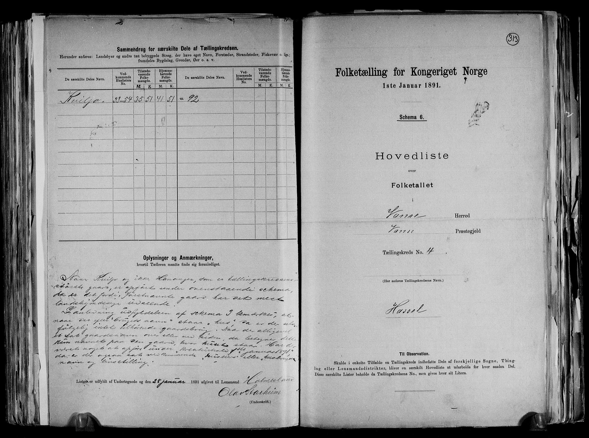 RA, Folketelling 1891 for 1041 Vanse herred, 1891, s. 20