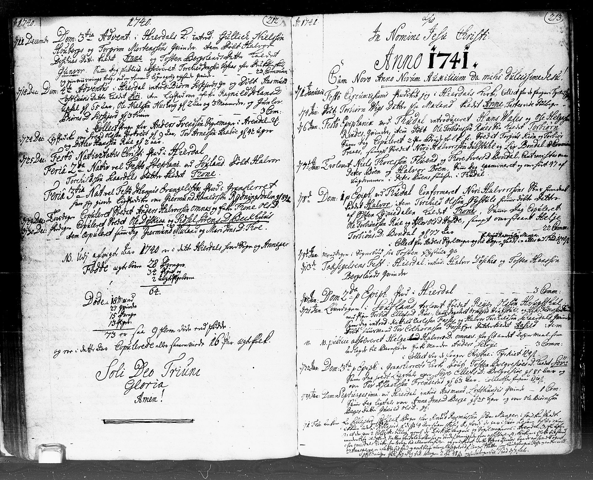 SAKO, Hjartdal kirkebøker, F/Fa/L0002: Ministerialbok nr. I 2, 1716-1754, s. 212-213