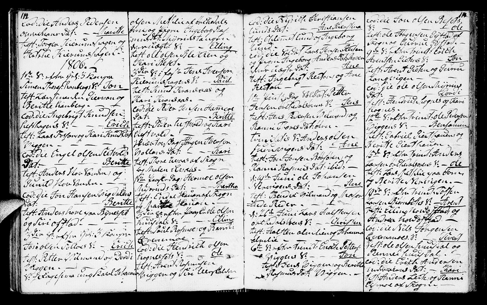 SAT, Ministerialprotokoller, klokkerbøker og fødselsregistre - Sør-Trøndelag, 665/L0769: Ministerialbok nr. 665A04, 1803-1816, s. 112-113
