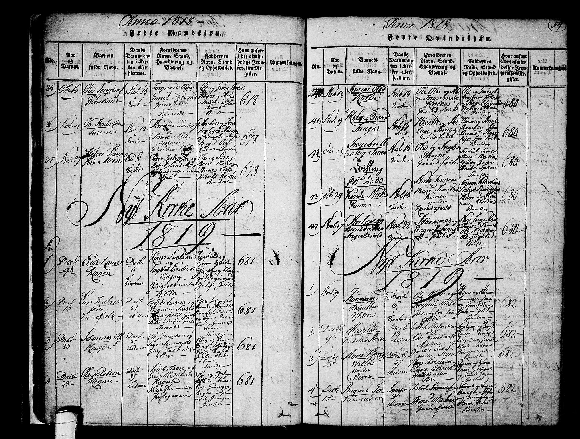 SAKO, Heddal kirkebøker, F/Fa/L0005: Ministerialbok nr. I 5, 1814-1837, s. 53-54