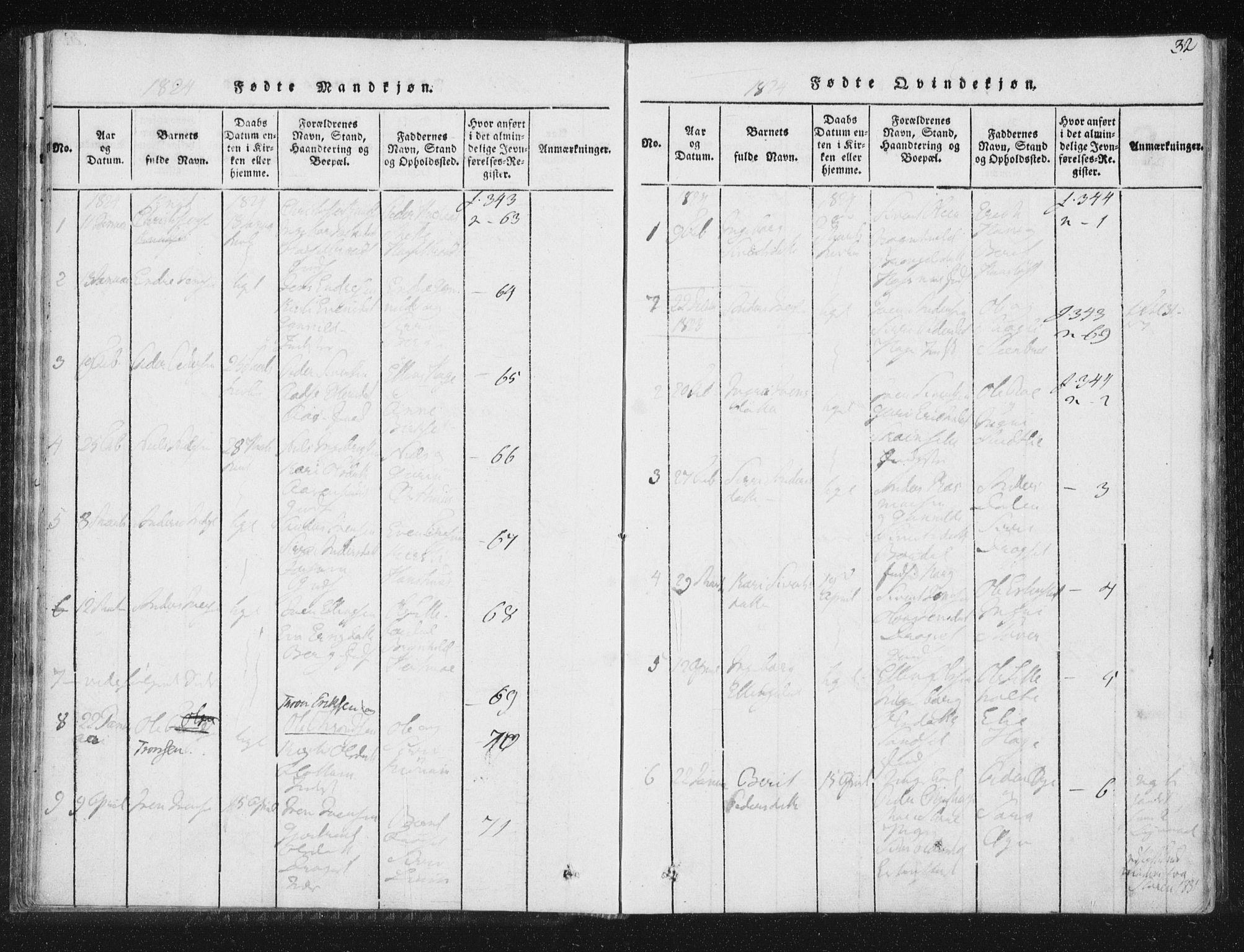SAT, Ministerialprotokoller, klokkerbøker og fødselsregistre - Sør-Trøndelag, 689/L1037: Ministerialbok nr. 689A02, 1816-1842, s. 32
