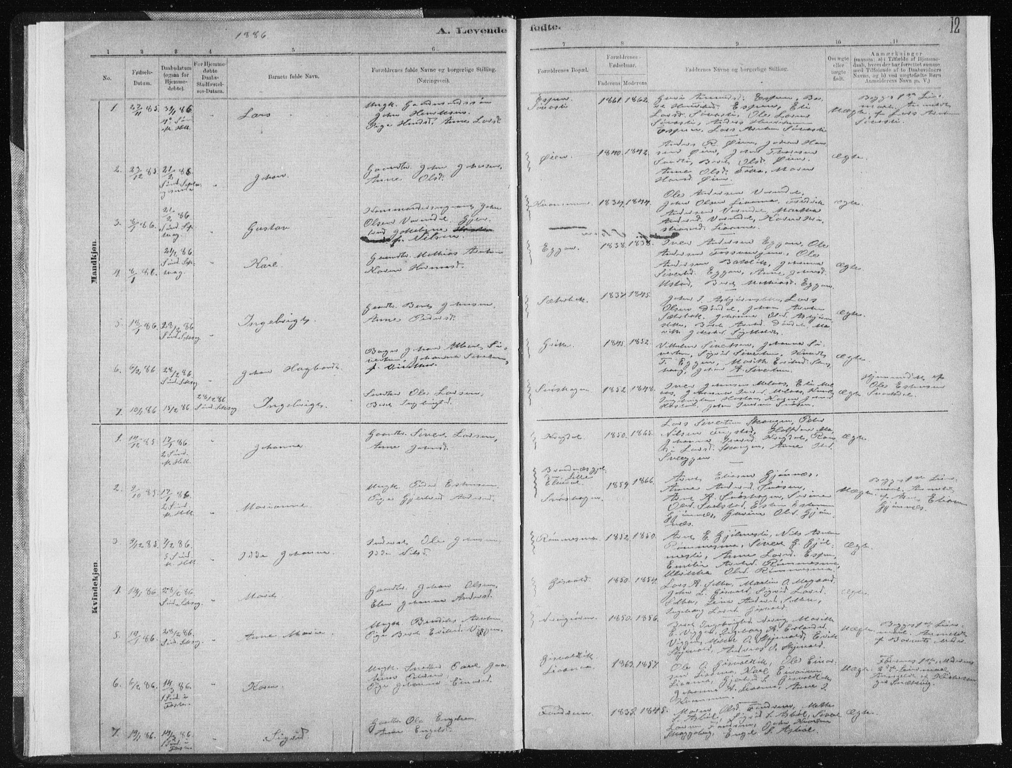 SAT, Ministerialprotokoller, klokkerbøker og fødselsregistre - Sør-Trøndelag, 668/L0818: Klokkerbok nr. 668C07, 1885-1898, s. 12