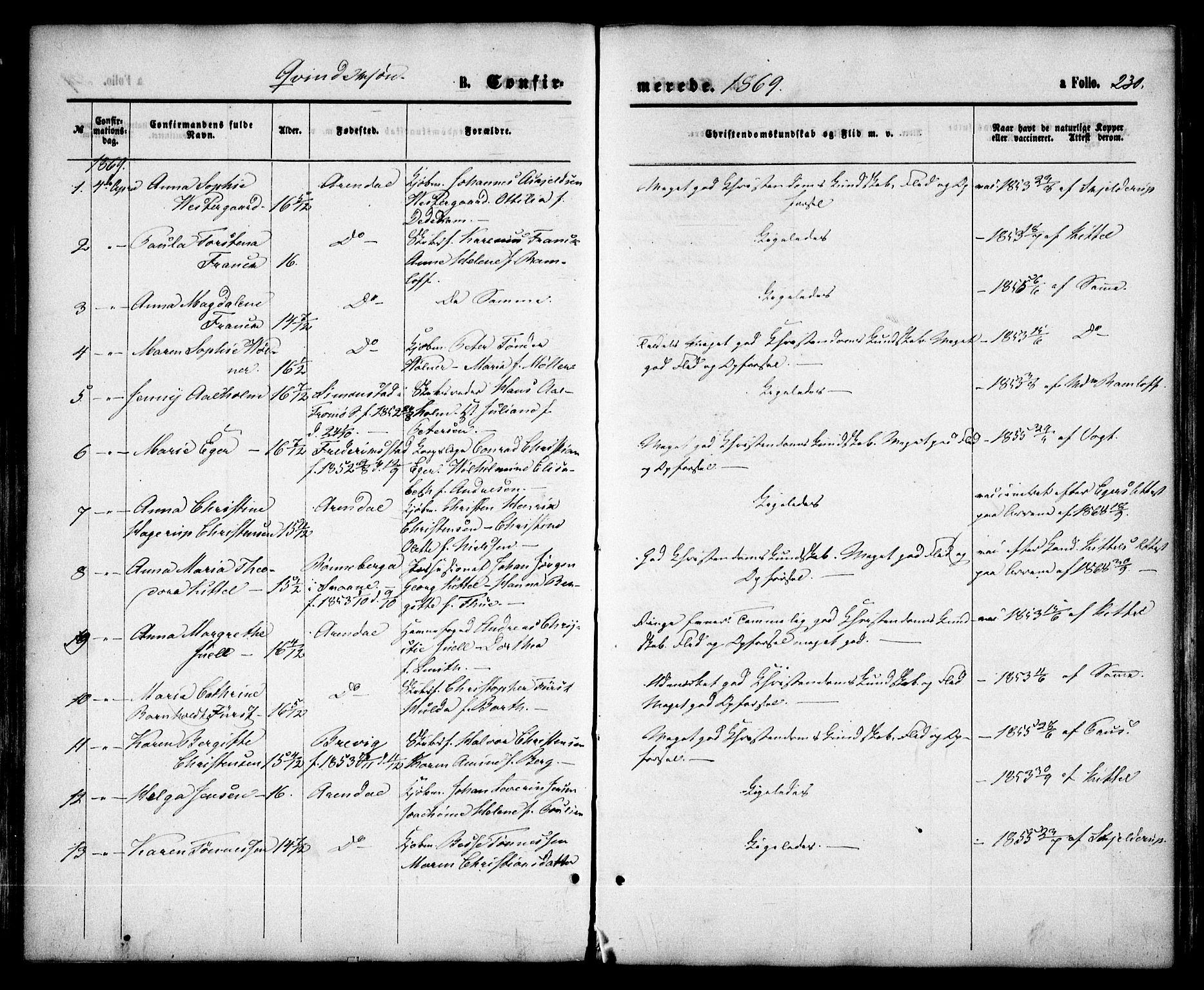 SAK, Arendal sokneprestkontor, Trefoldighet, F/Fa/L0007: Ministerialbok nr. A 7, 1868-1878, s. 230