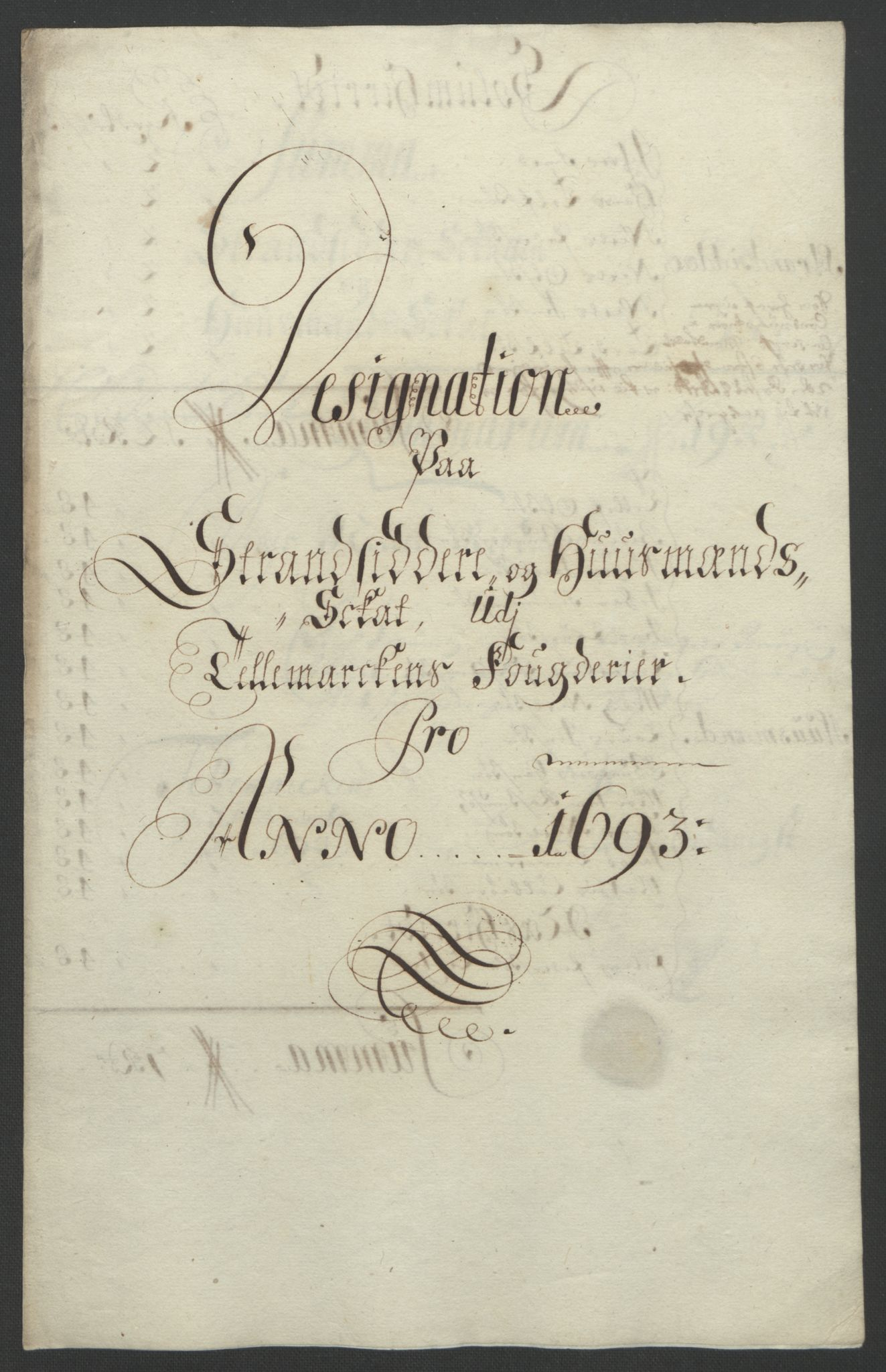 RA, Rentekammeret inntil 1814, Reviderte regnskaper, Fogderegnskap, R35/L2091: Fogderegnskap Øvre og Nedre Telemark, 1690-1693, s. 279