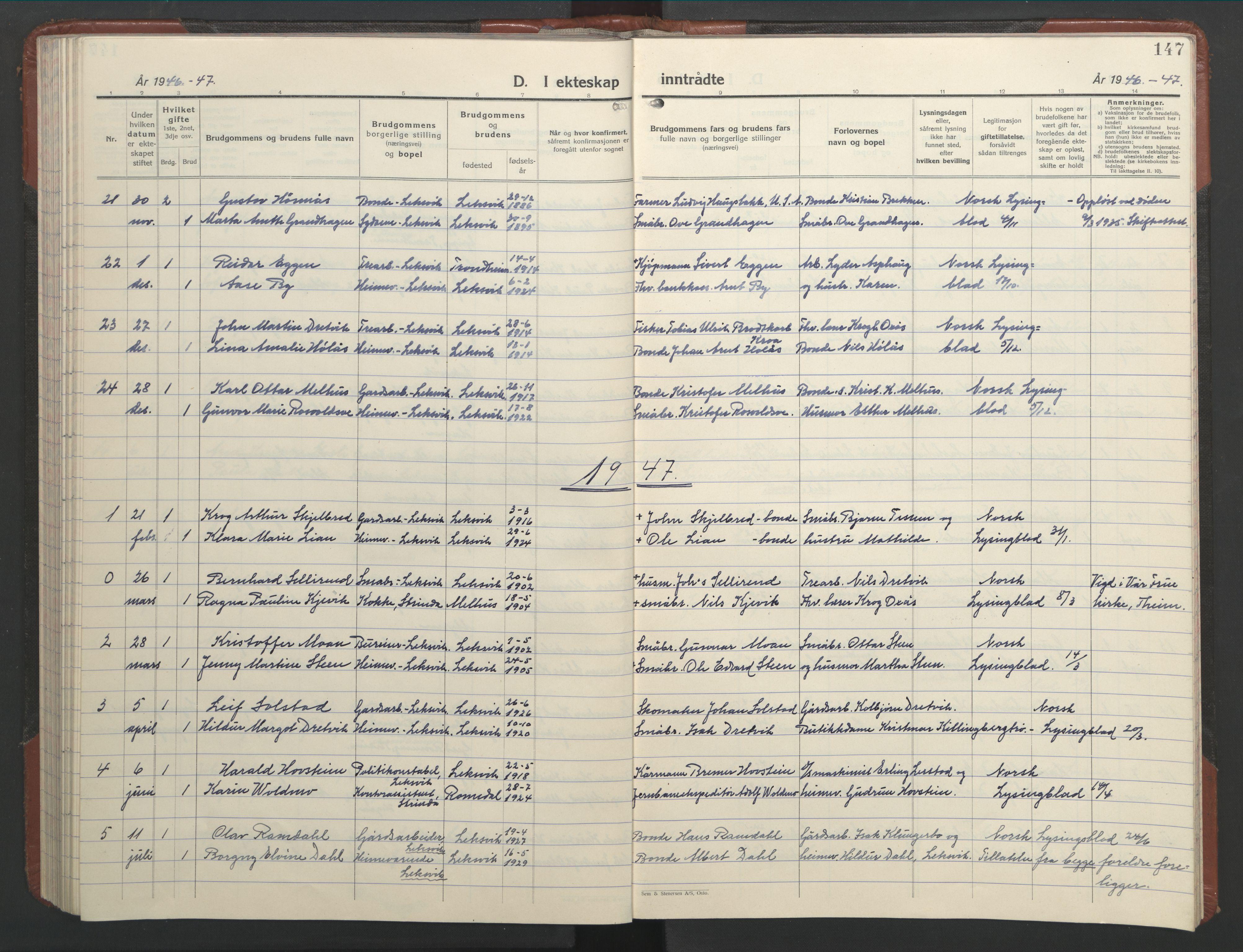 SAT, Ministerialprotokoller, klokkerbøker og fødselsregistre - Nord-Trøndelag, 701/L0019: Klokkerbok nr. 701C03, 1930-1953, s. 147