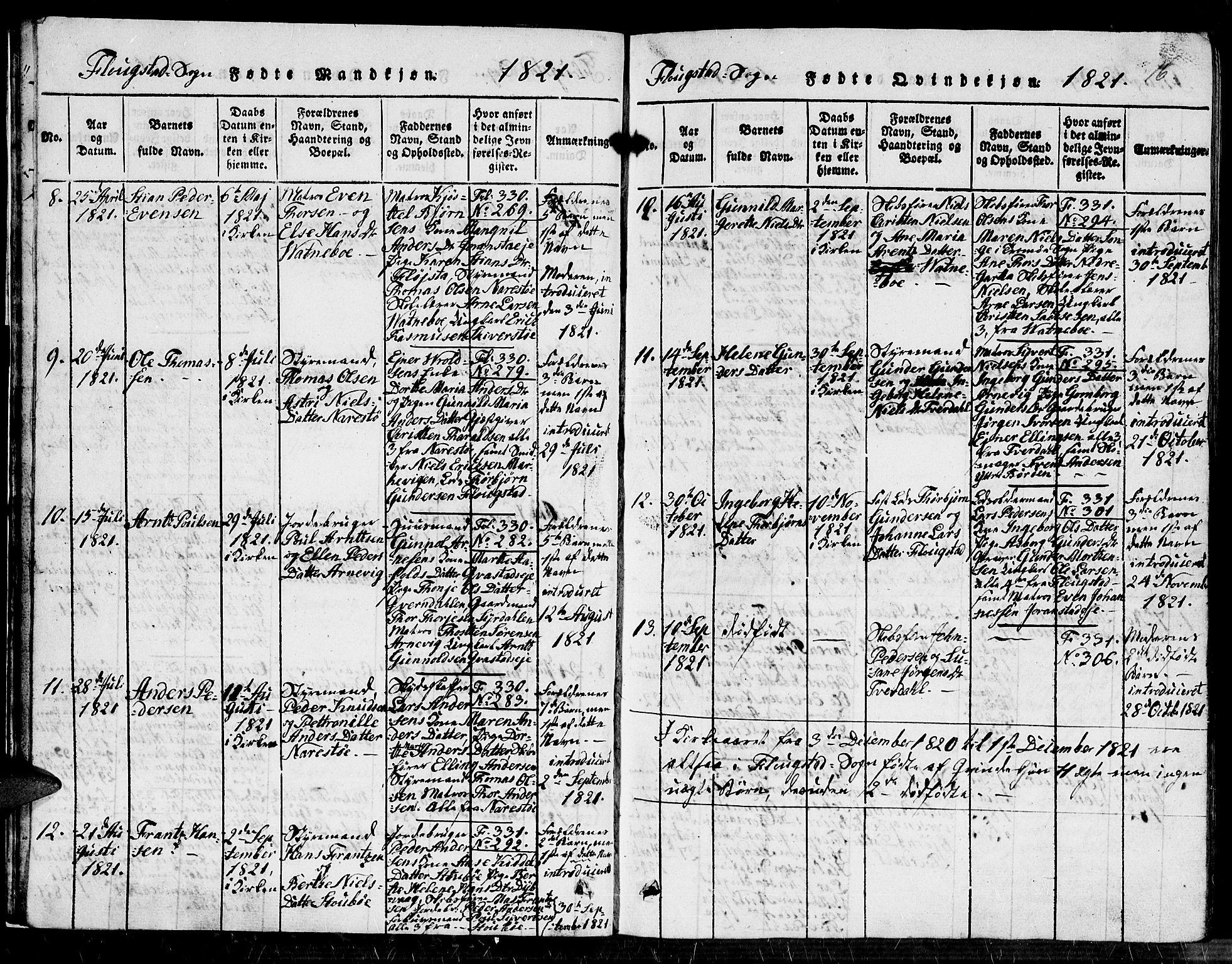 SAK, Dypvåg sokneprestkontor, F/Fb/Fbb/L0001: Klokkerbok nr. B 1, 1816-1850, s. 16