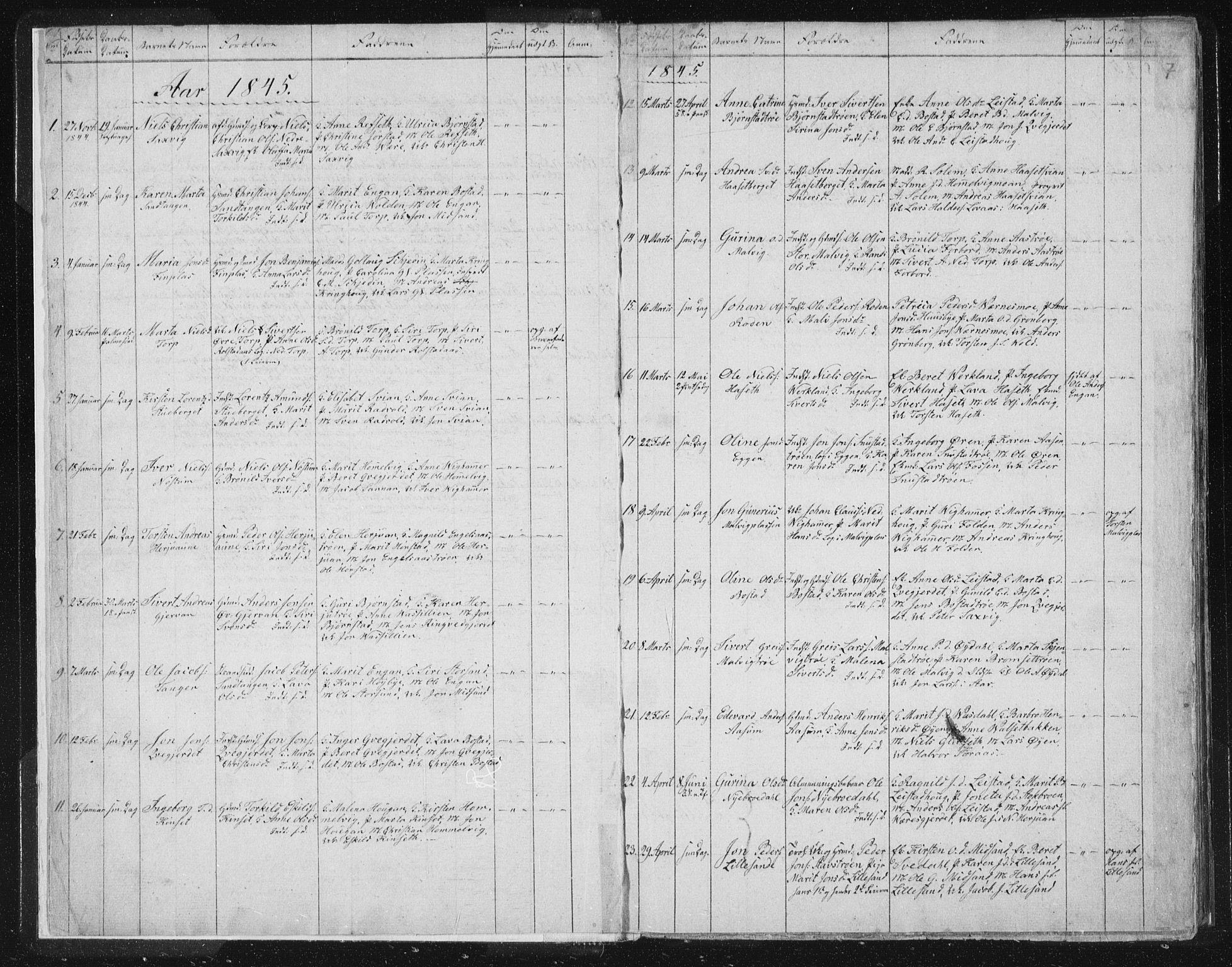 SAT, Ministerialprotokoller, klokkerbøker og fødselsregistre - Sør-Trøndelag, 616/L0406: Ministerialbok nr. 616A03, 1843-1879, s. 7
