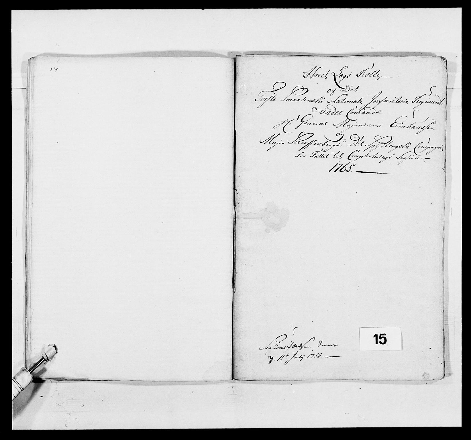 RA, Kommanderende general (KG I) med Det norske krigsdirektorium, E/Ea/L0496: 1. Smålenske regiment, 1765-1767, s. 161